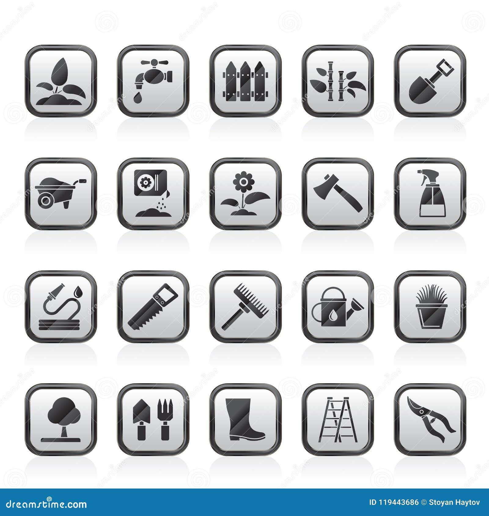 Ícones das ferramentas do jardim e de jardinagem