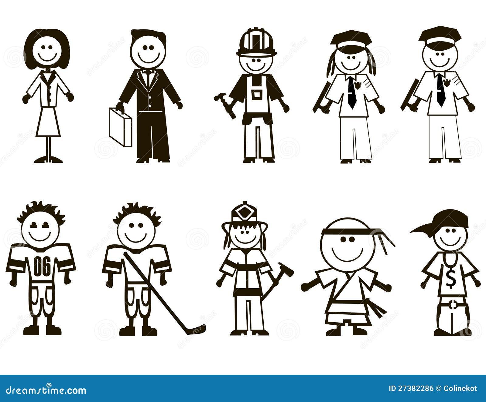 Ícones Das Profissões Dos Desenhos Animados Imagem De