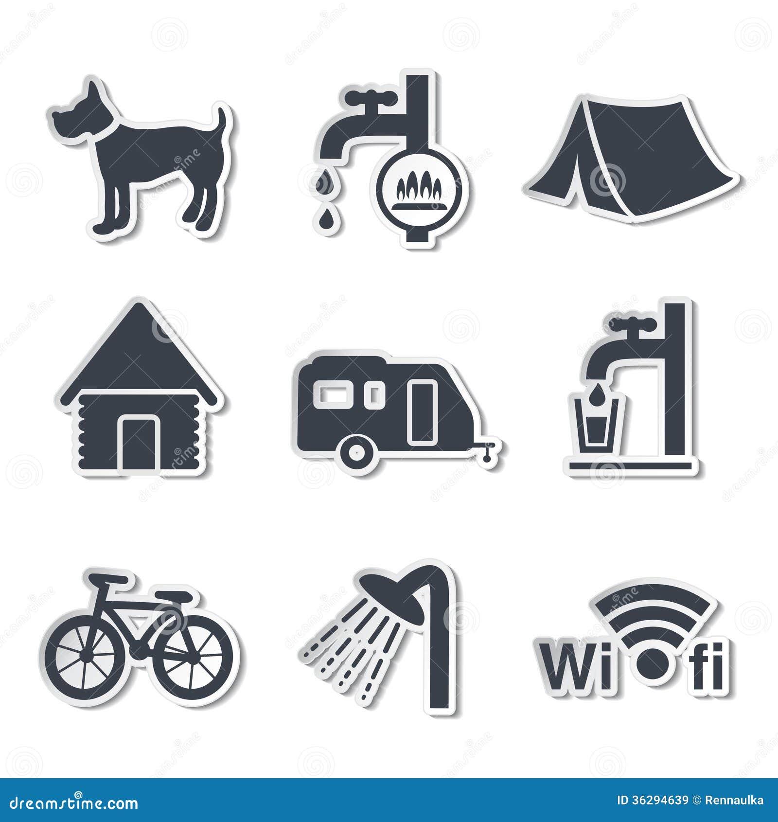 Ícones de acampamento - etiquetas