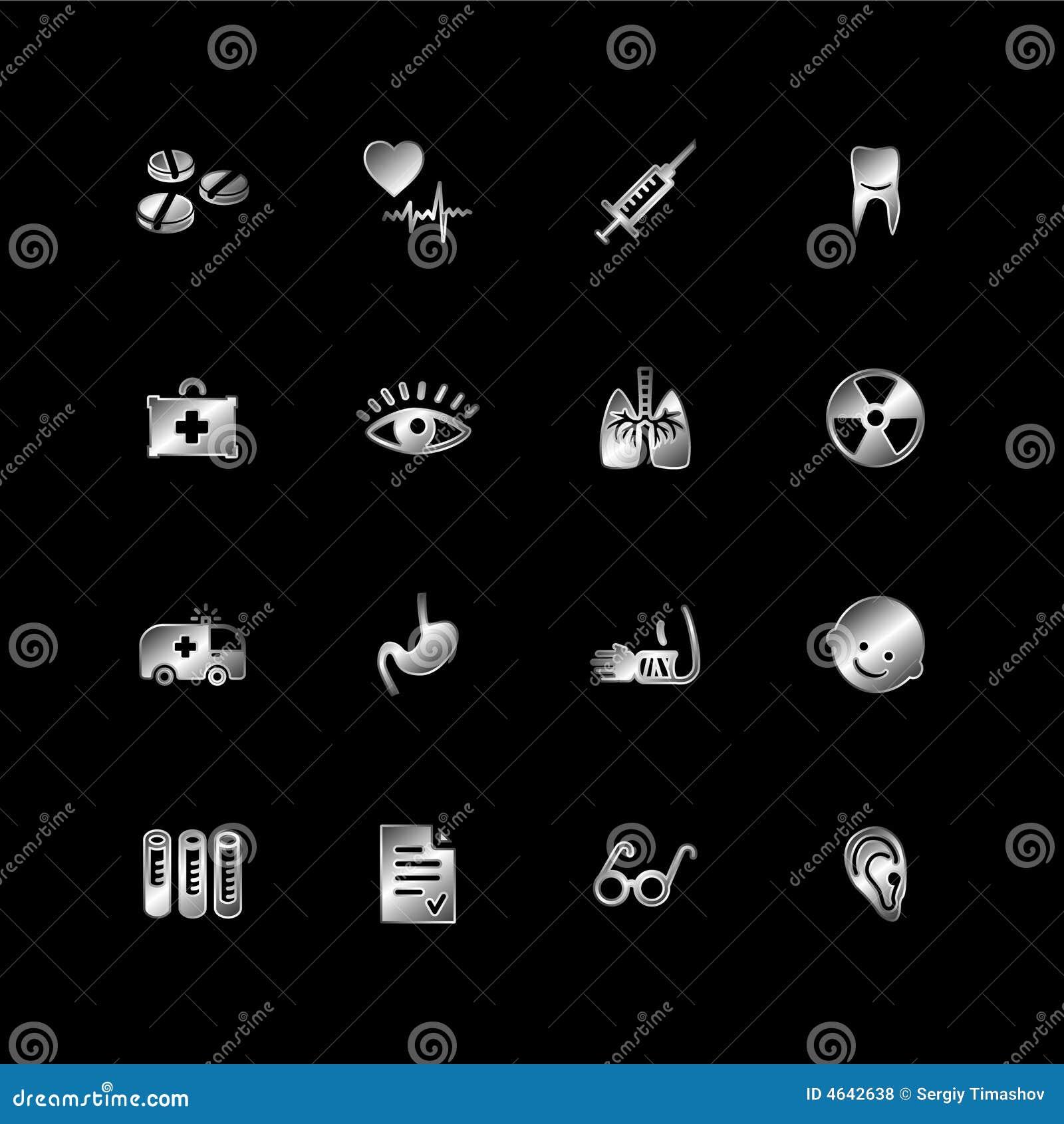 Ícones de prata da medicina