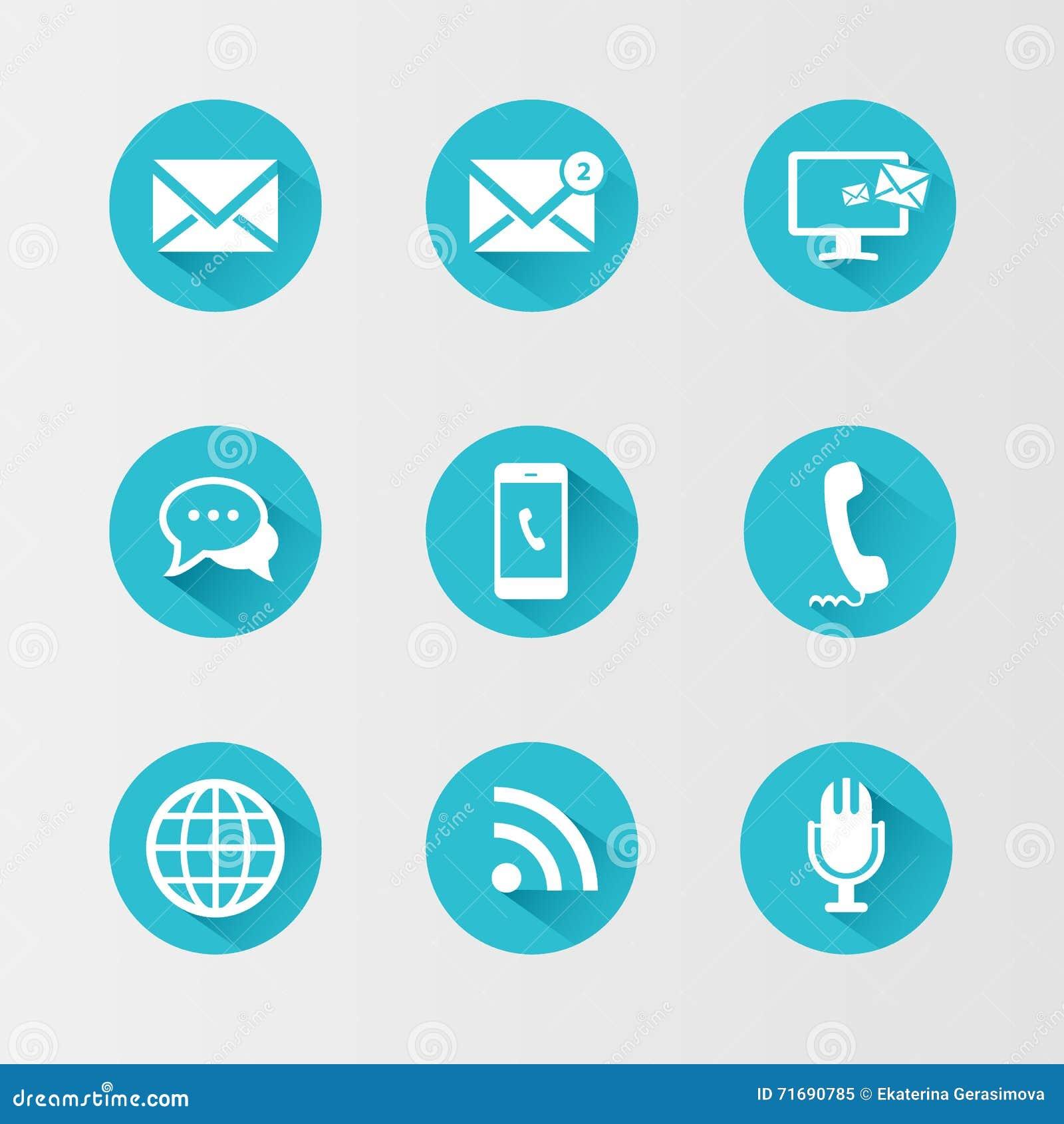 Ícones de uma comunicação ajustados