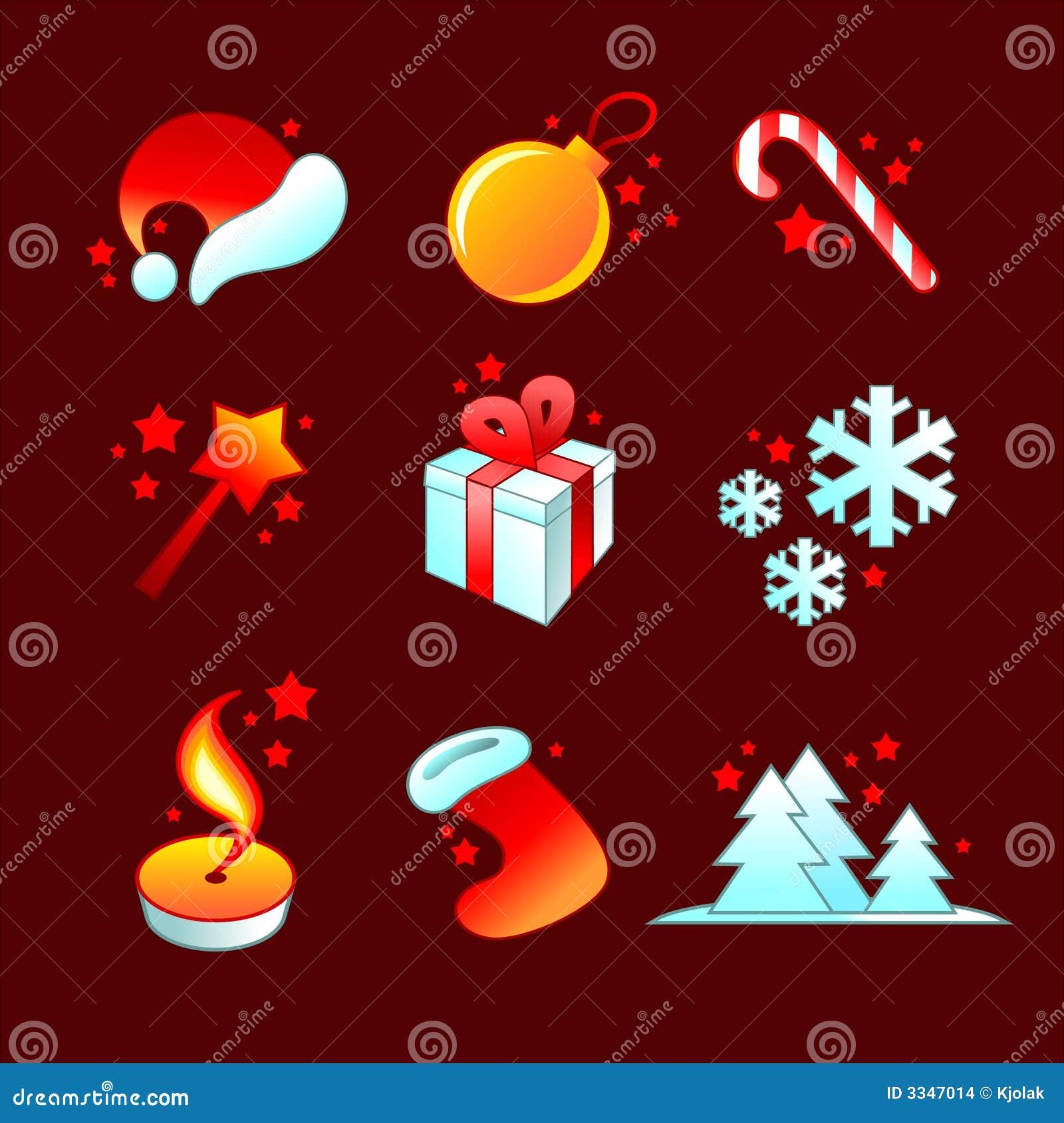 Ícones detalhados do Natal