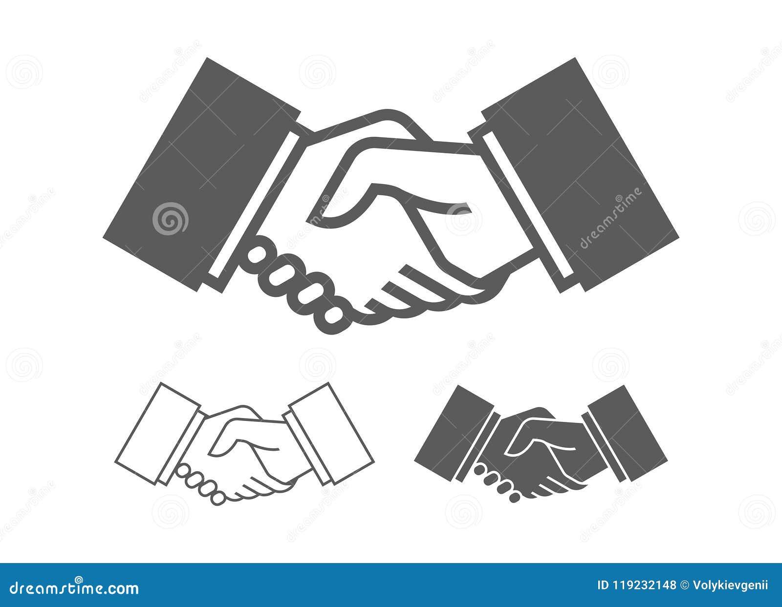 Ícones do aperto de mão do negócio