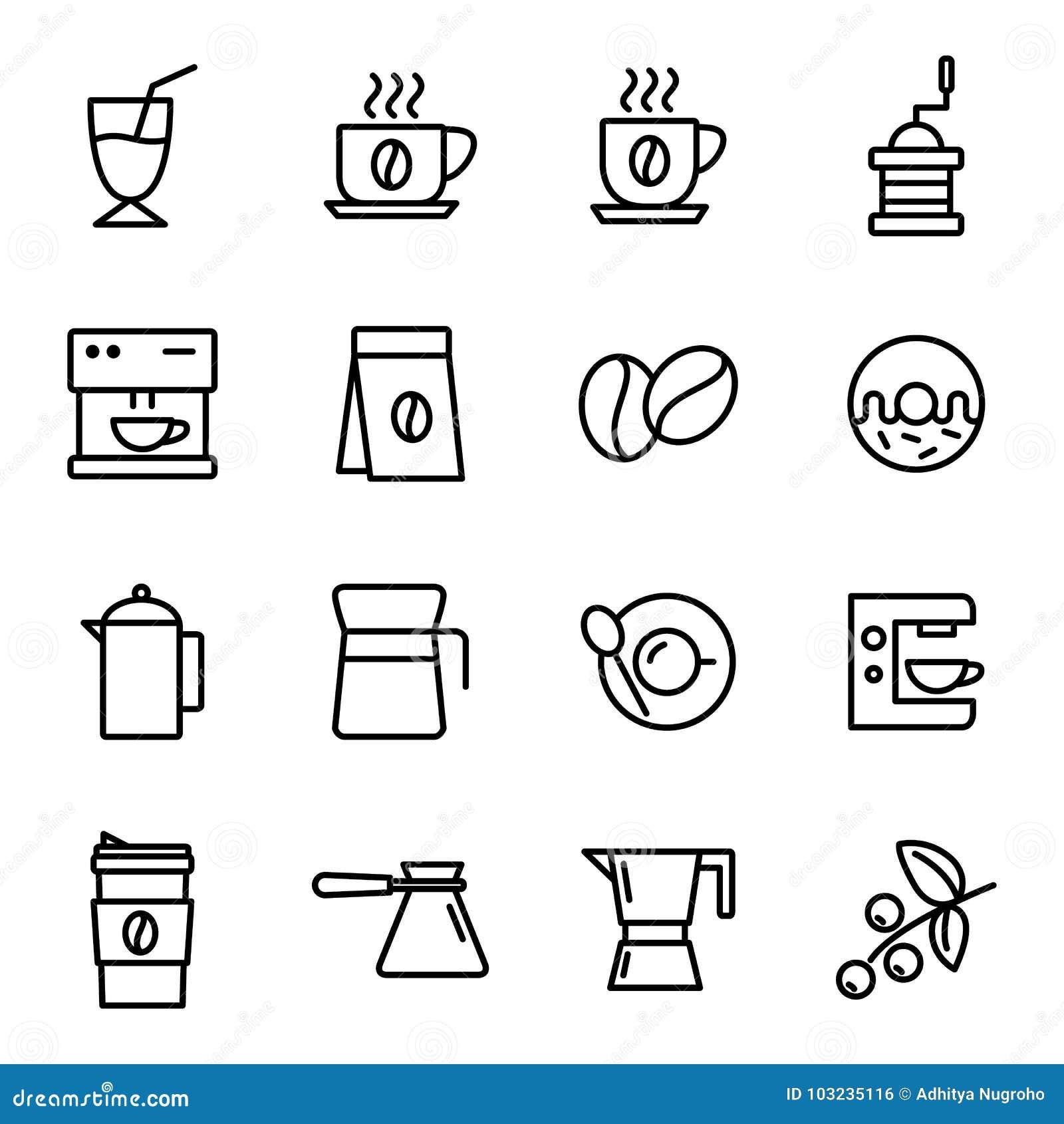 Ícones do café ajustados