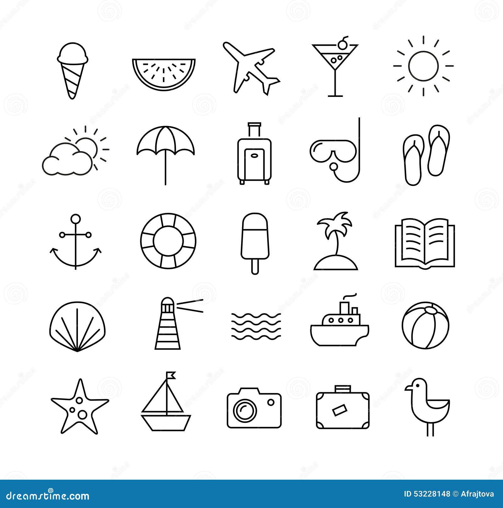 Ícones do curso do verão em linhas finas