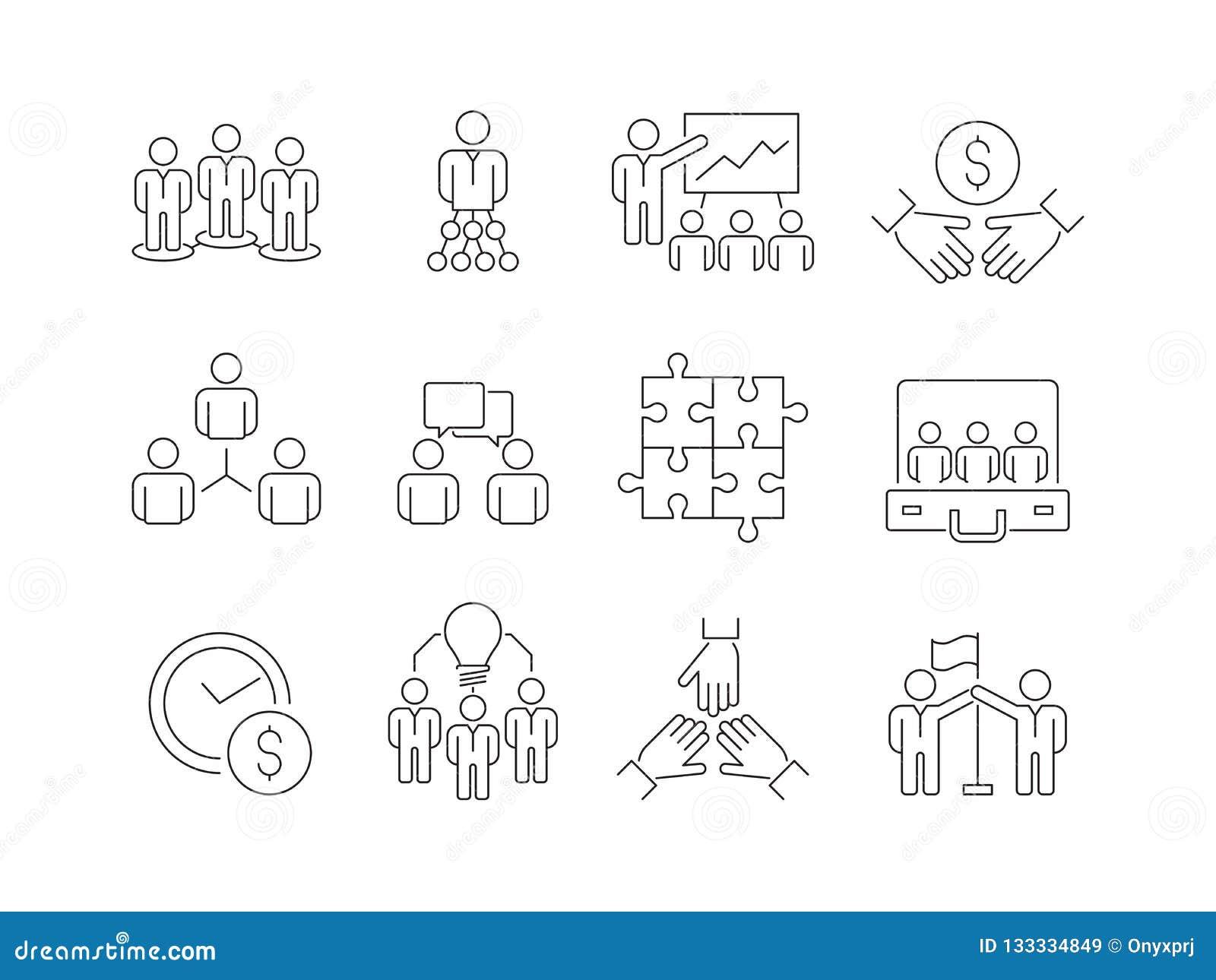 Ícones do desenvolvimento de equipes O grupo de trabalho de executivos ajuda junto a coworking a linha fina símbolos do vetor da