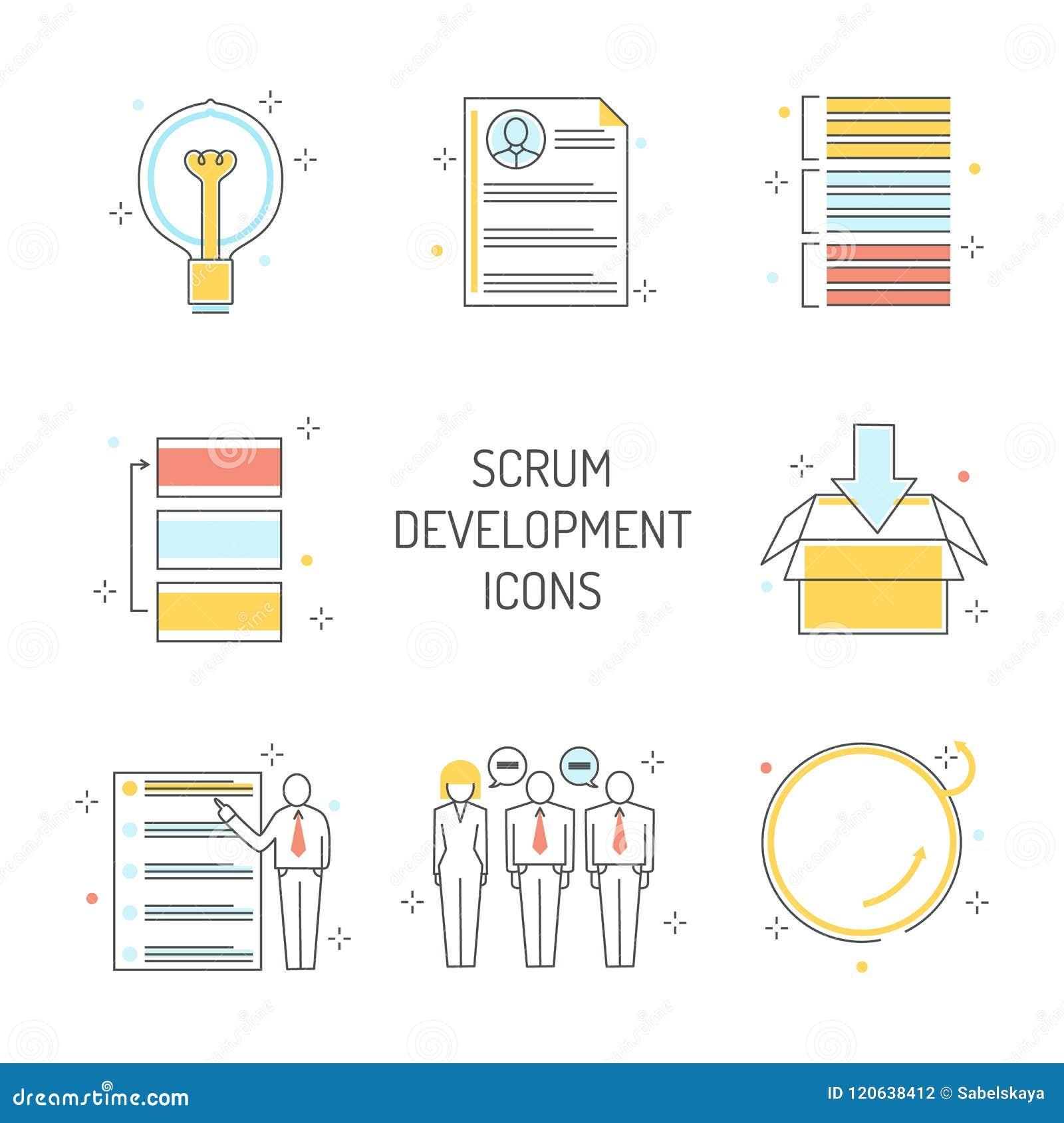 Ícones do desenvolvimento do scrum ajustados - metodologia ágil para controlar o projeto