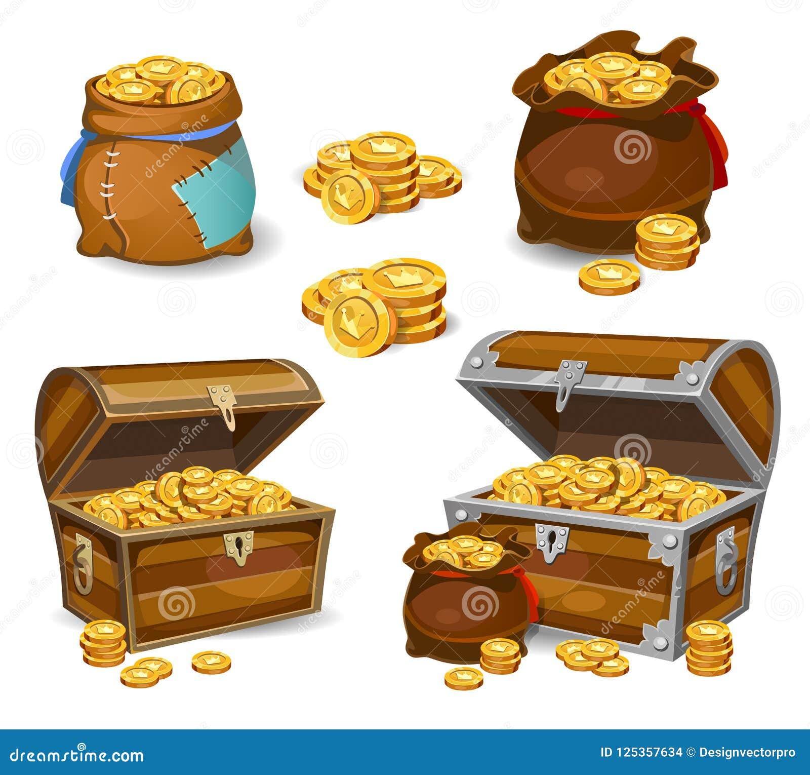 Ícones do dinheiro dos desenhos animados 3d do casino e do jogo Moedas de ouro em uns moneybags