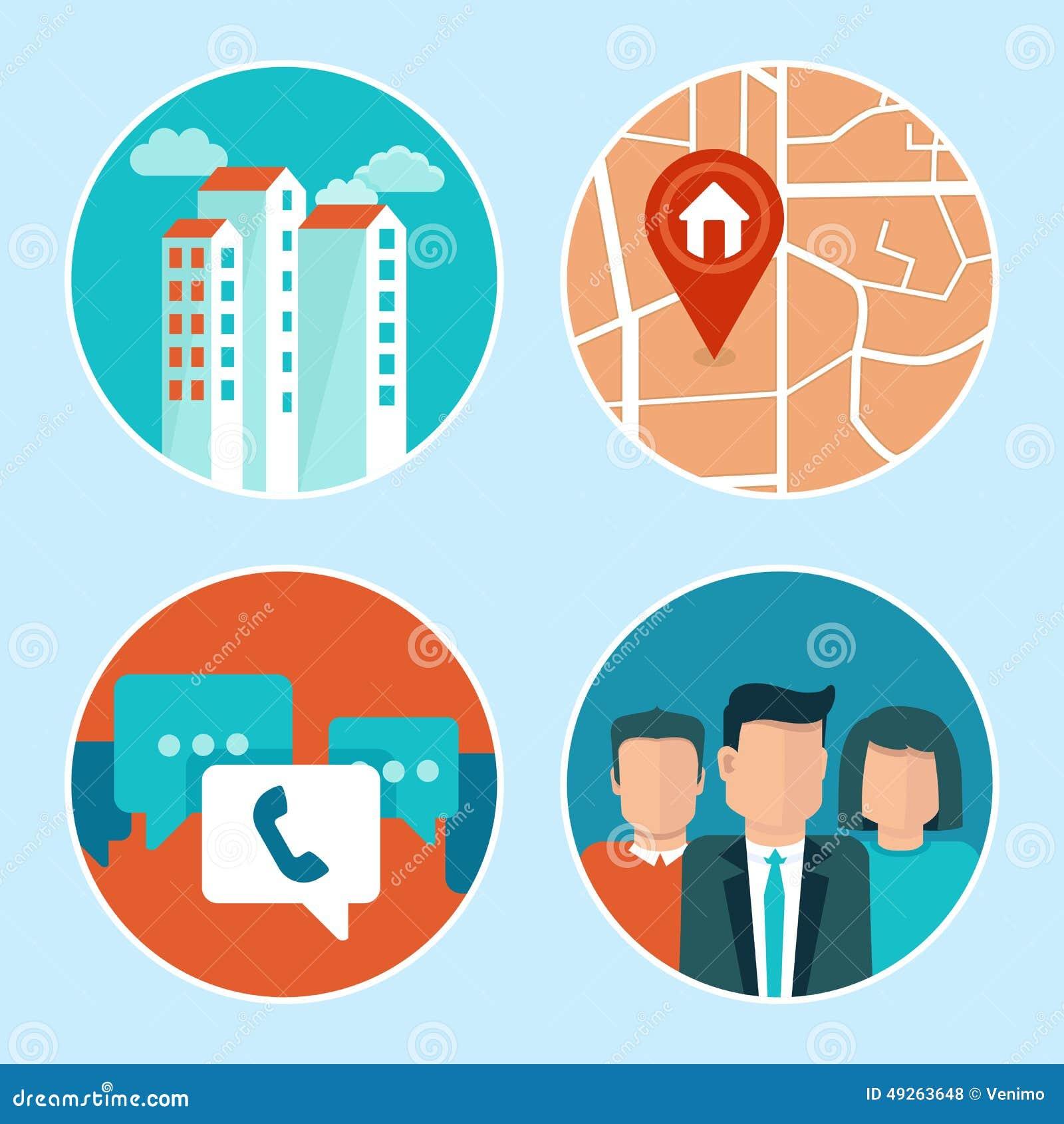 Ícones do endereço e do telefone do escritório do vetor no estilo liso