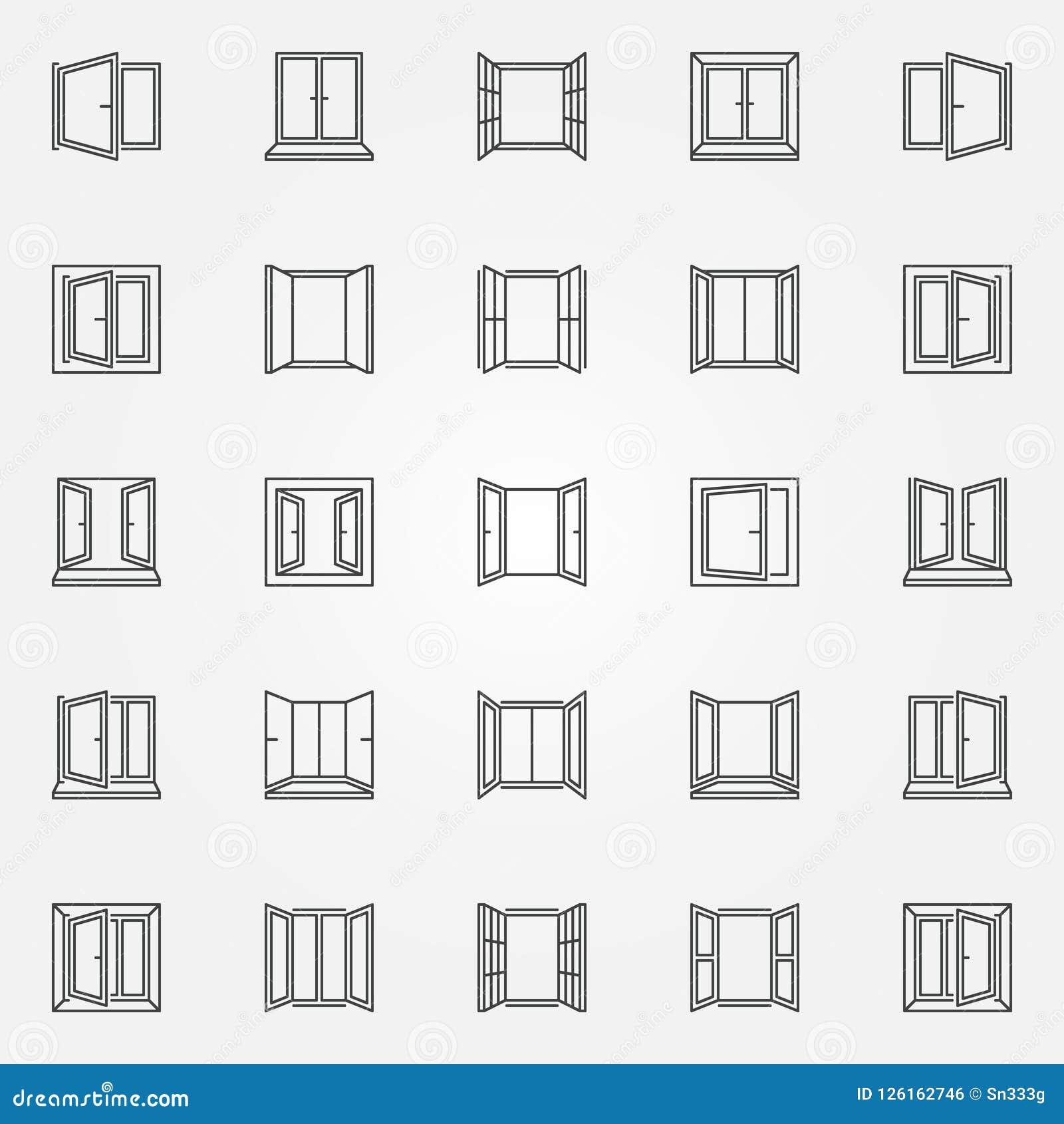 Ícones do esboço da janela ajustados Símbolos das janelas abertas do vetor