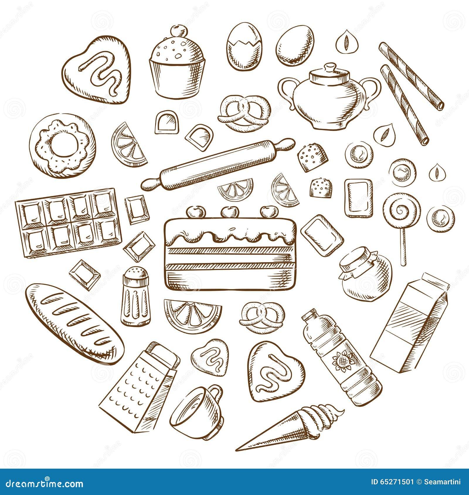 Ícones do esboço da pastelaria, da sobremesa e da padaria