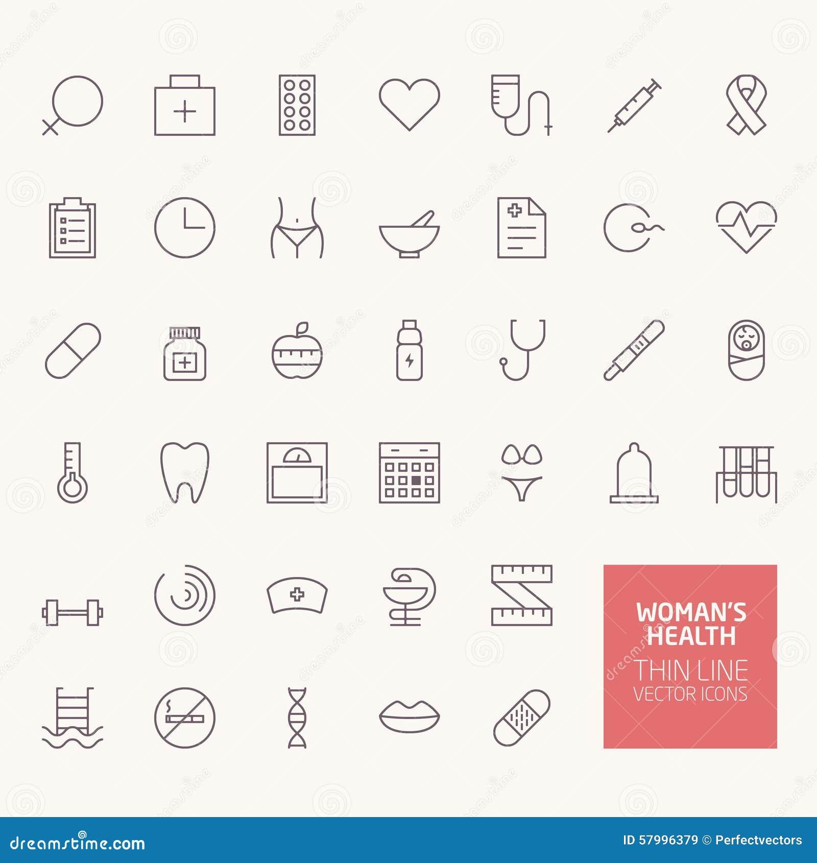 Ícones do esboço da saúde da mulher
