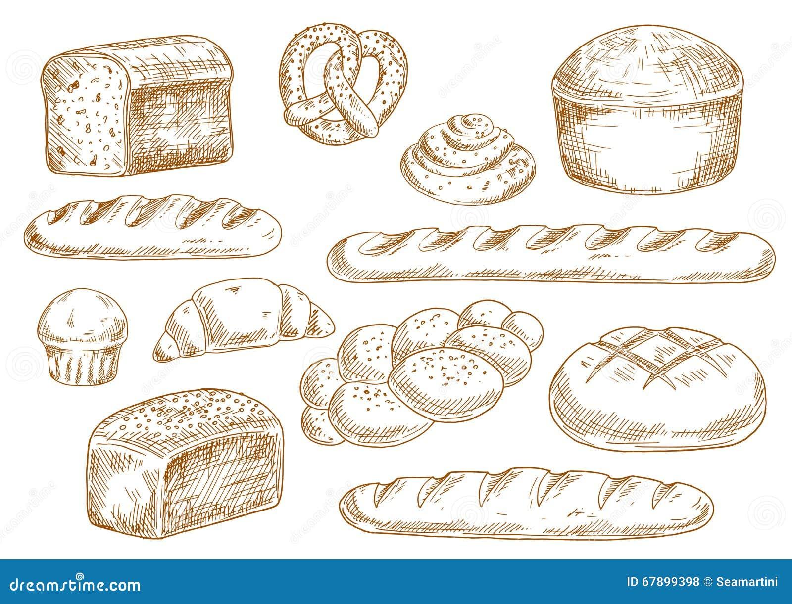 Ícones do esboço do pão e da padaria