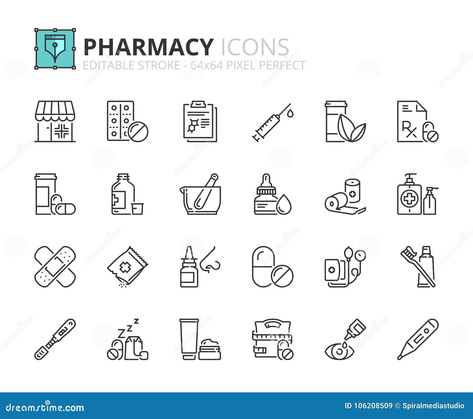 Ícones do esboço sobre a farmácia