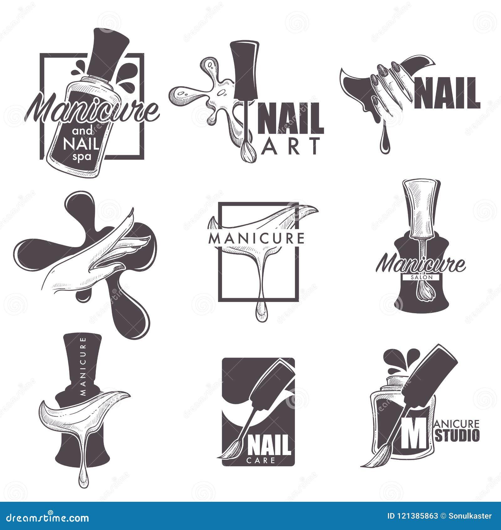 Ícones do esboço do vetor dos termas do tratamento de mãos e do prego