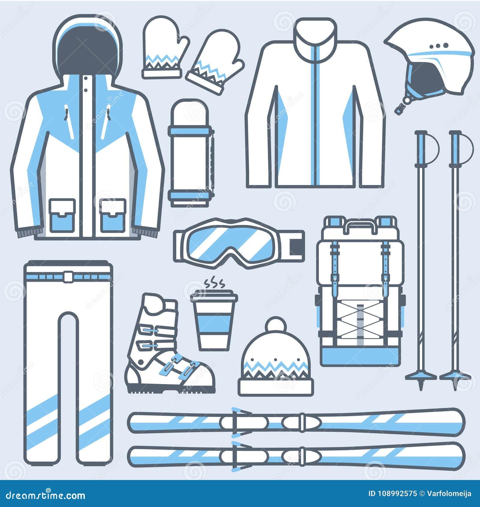 a51b1cb4a Ícones do esqui ajustados Engrenagem do esqui da montanha e coleção dos acessórios  Esporte de inverno