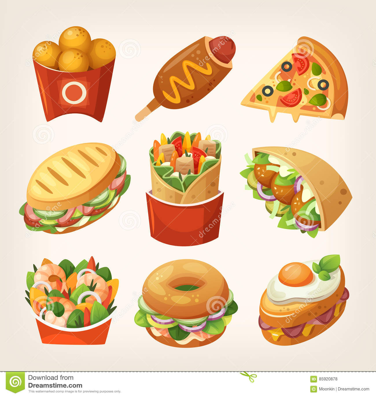 Ícones do fast food