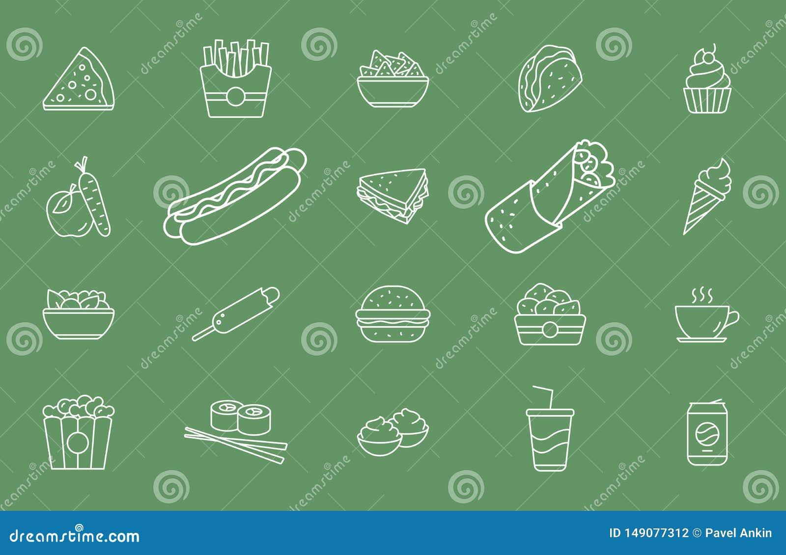 Ícones 01 do fast food