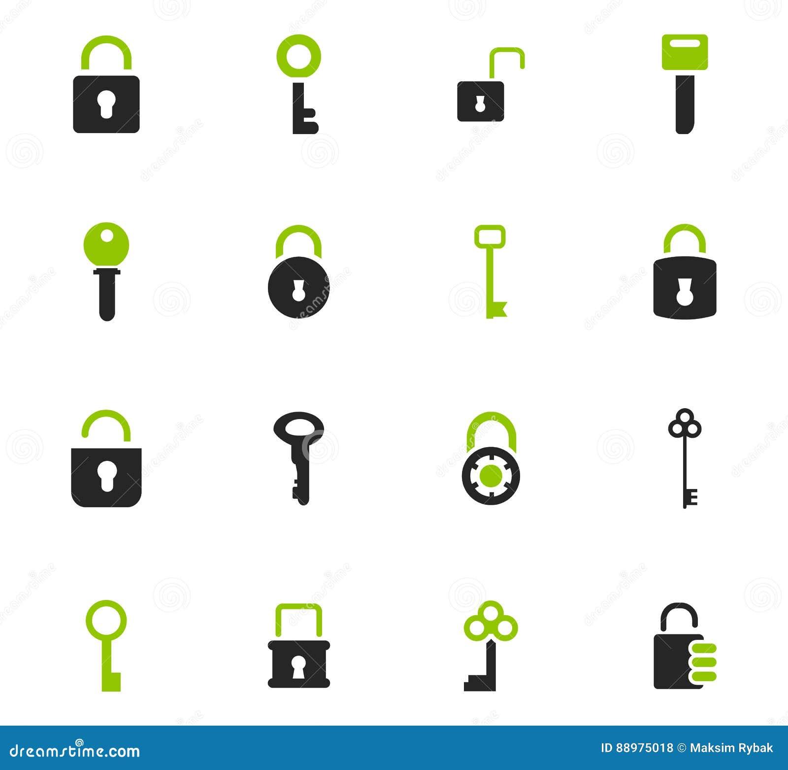 Ícones do fechamento e da chave ajustados