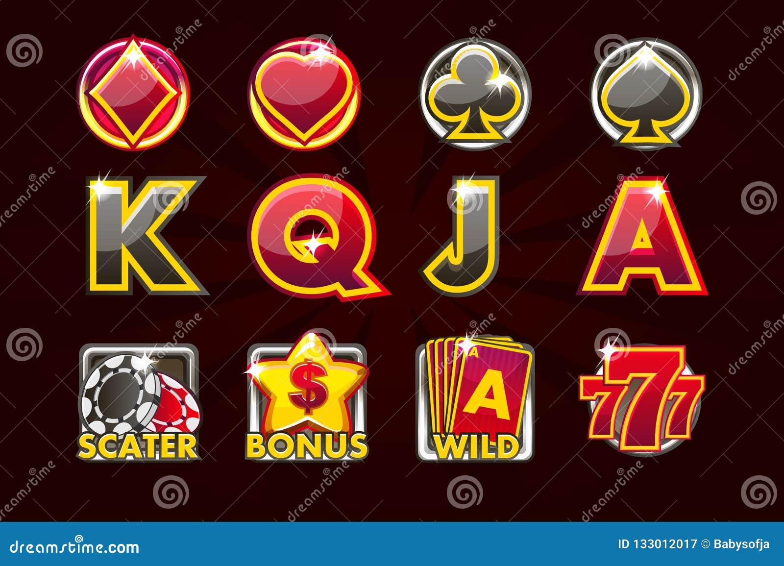 Ícones do jogo do vetor de símbolos do cartão para slots machines e uma loteria ou um casino em cores preto-vermelhas Casino do j