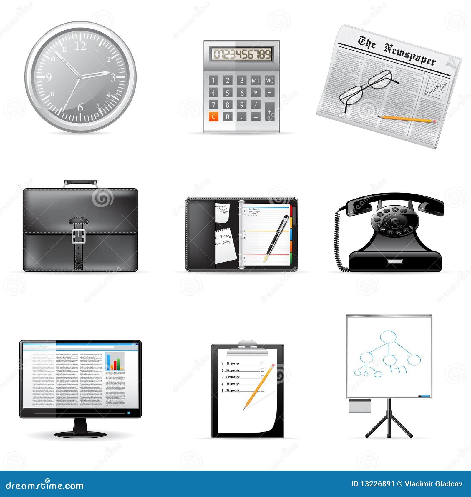 Ícones do negócio e do escritório do vetor