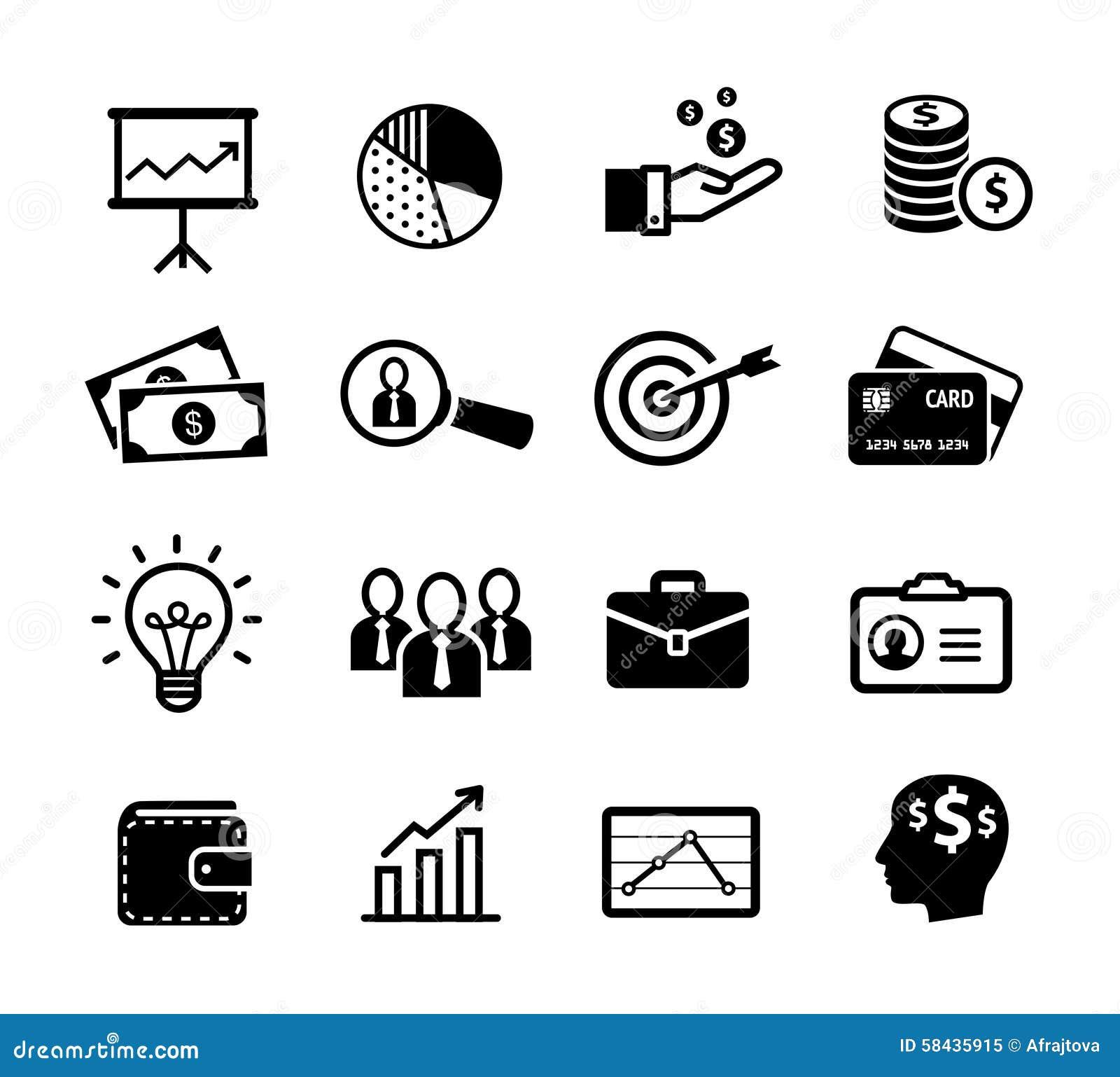 Ícones do negócio - produtividade, gestão