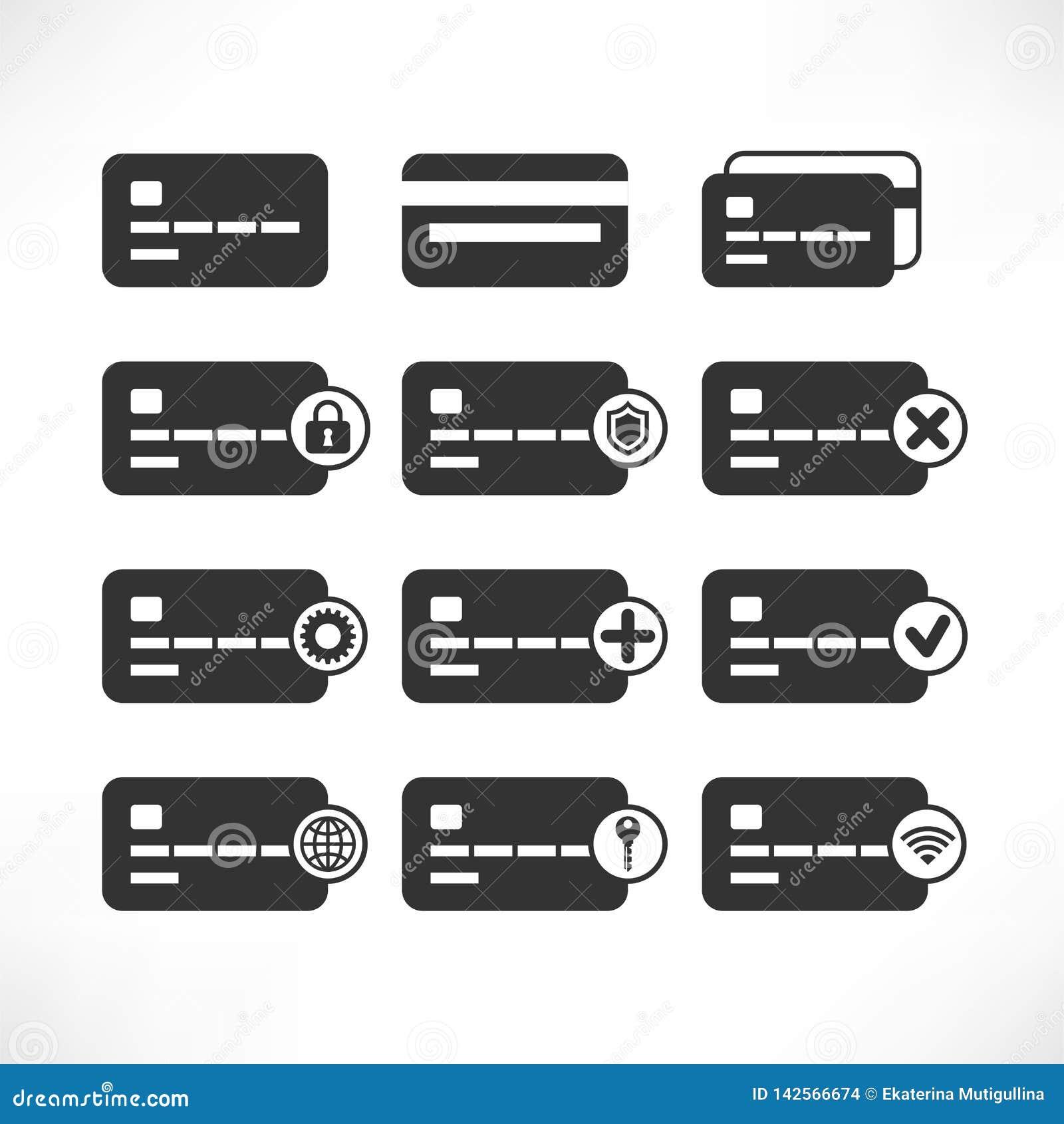 Ícones do preto do cartão de crédito