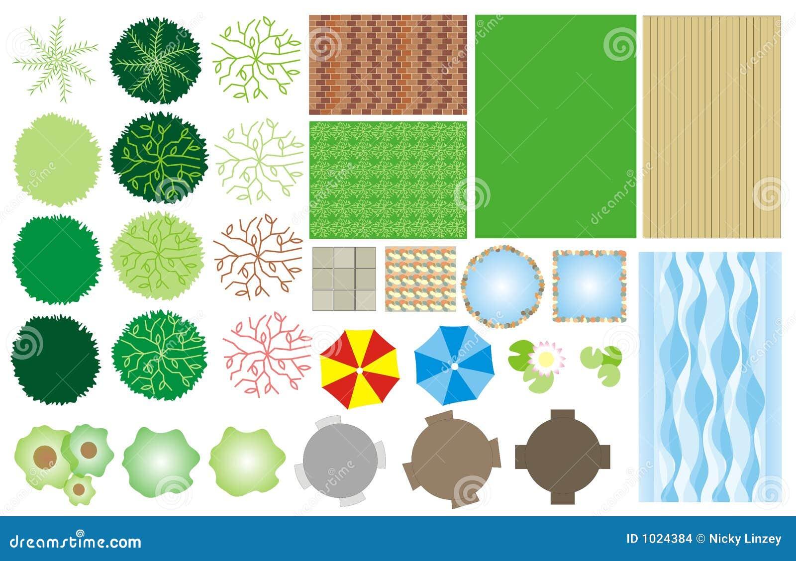 Ícones do projeto do jardim