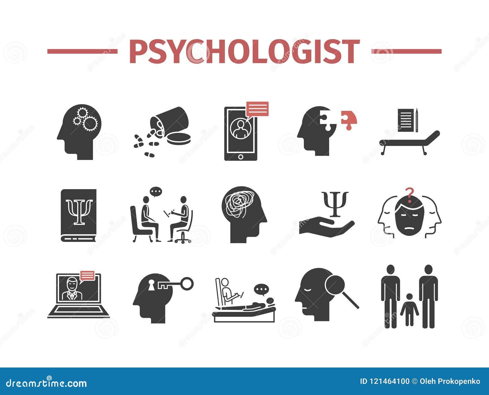 Ícones do psicólogo ajustados infographics conceptual Aconselhando a psicologia Sinal do vetor para gráficos da Web