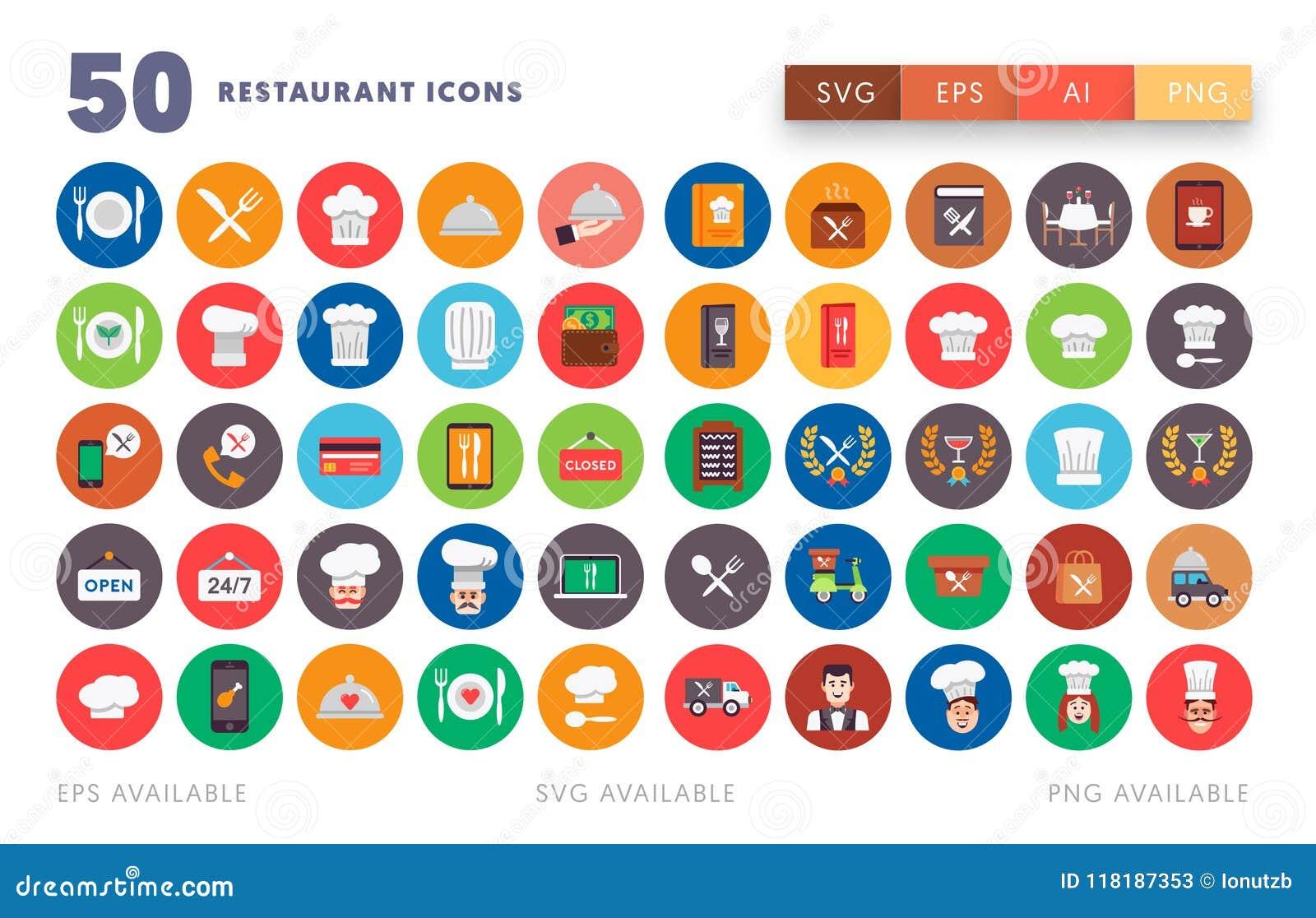 50 ícones do restaurante