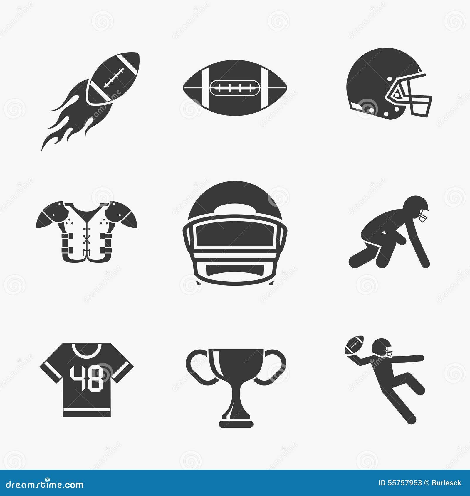 5ea08b7b3 Ícones do rugby e do futebol americano ajustados Bola para o rugby
