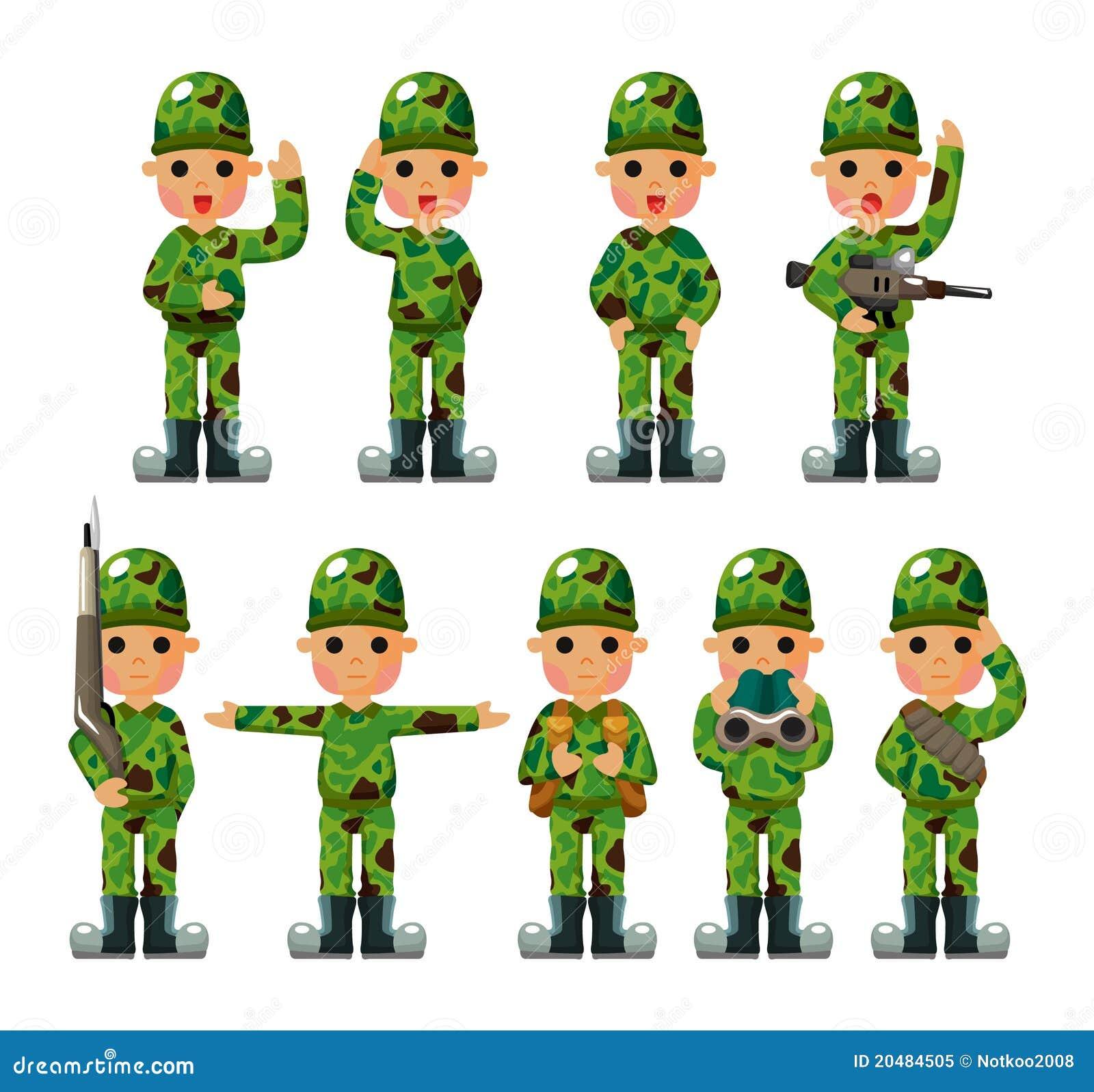 Ícones do soldado dos desenhos animados ajustados ilustração do