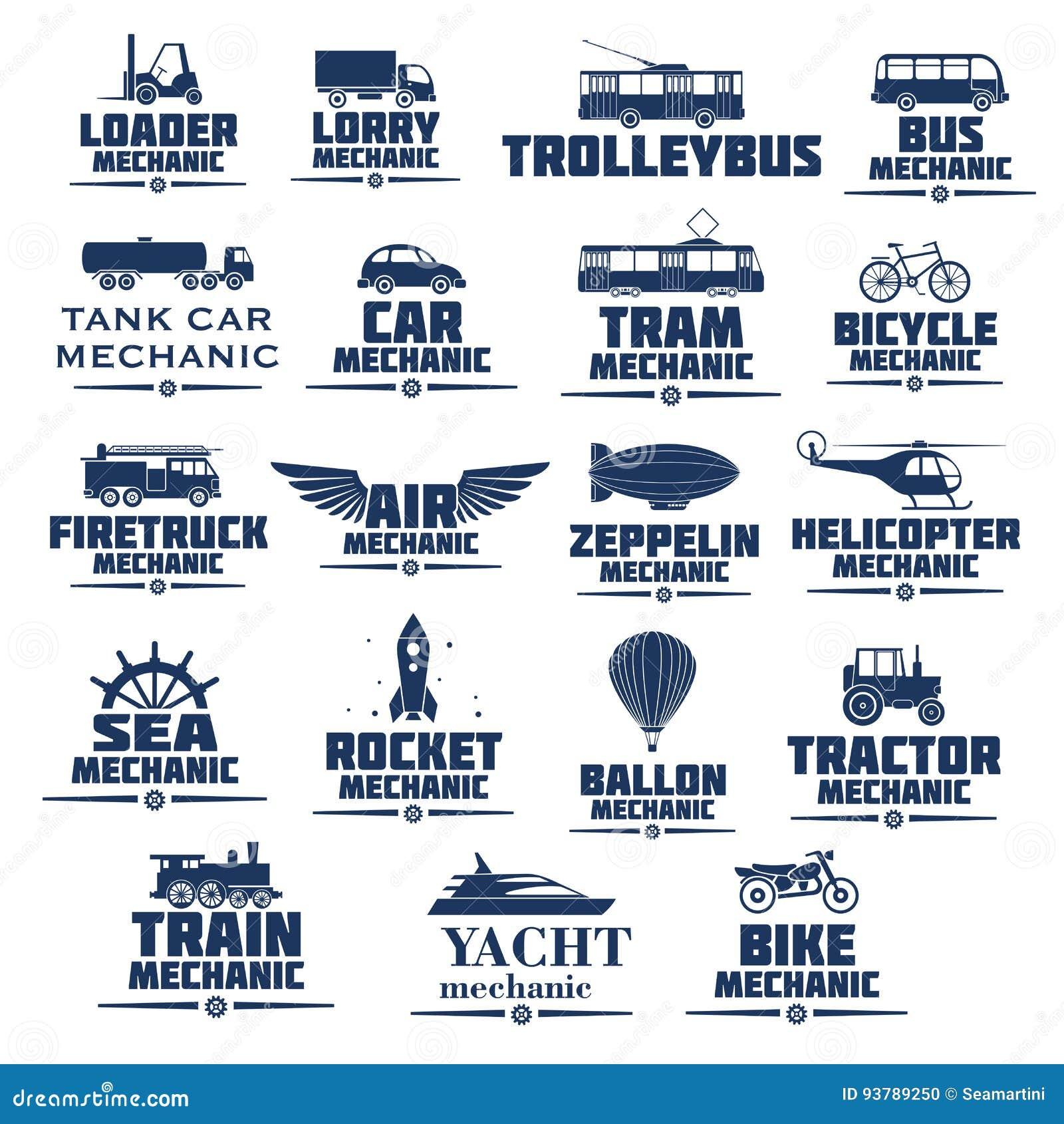 Ícones do vetor ajustados para mecânicos do transporte