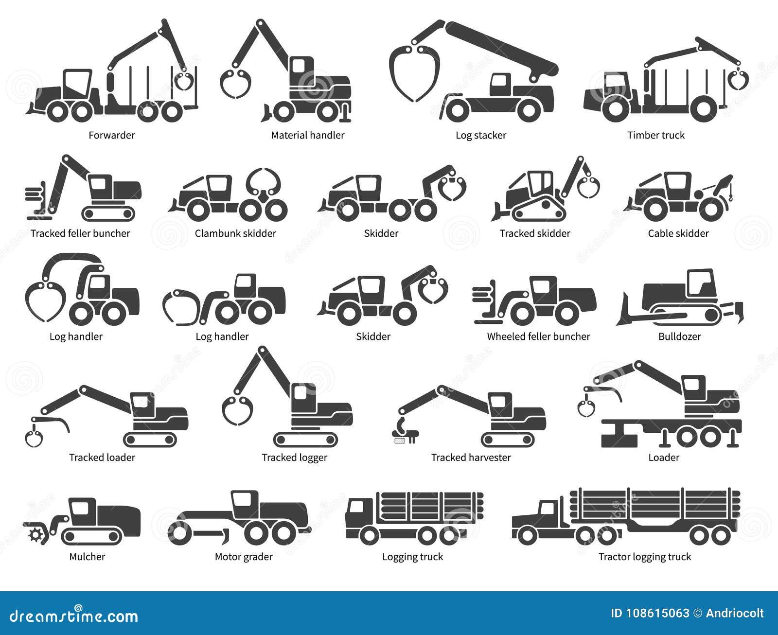 Ícones do vetor da maquinaria da silvicultura ajustados