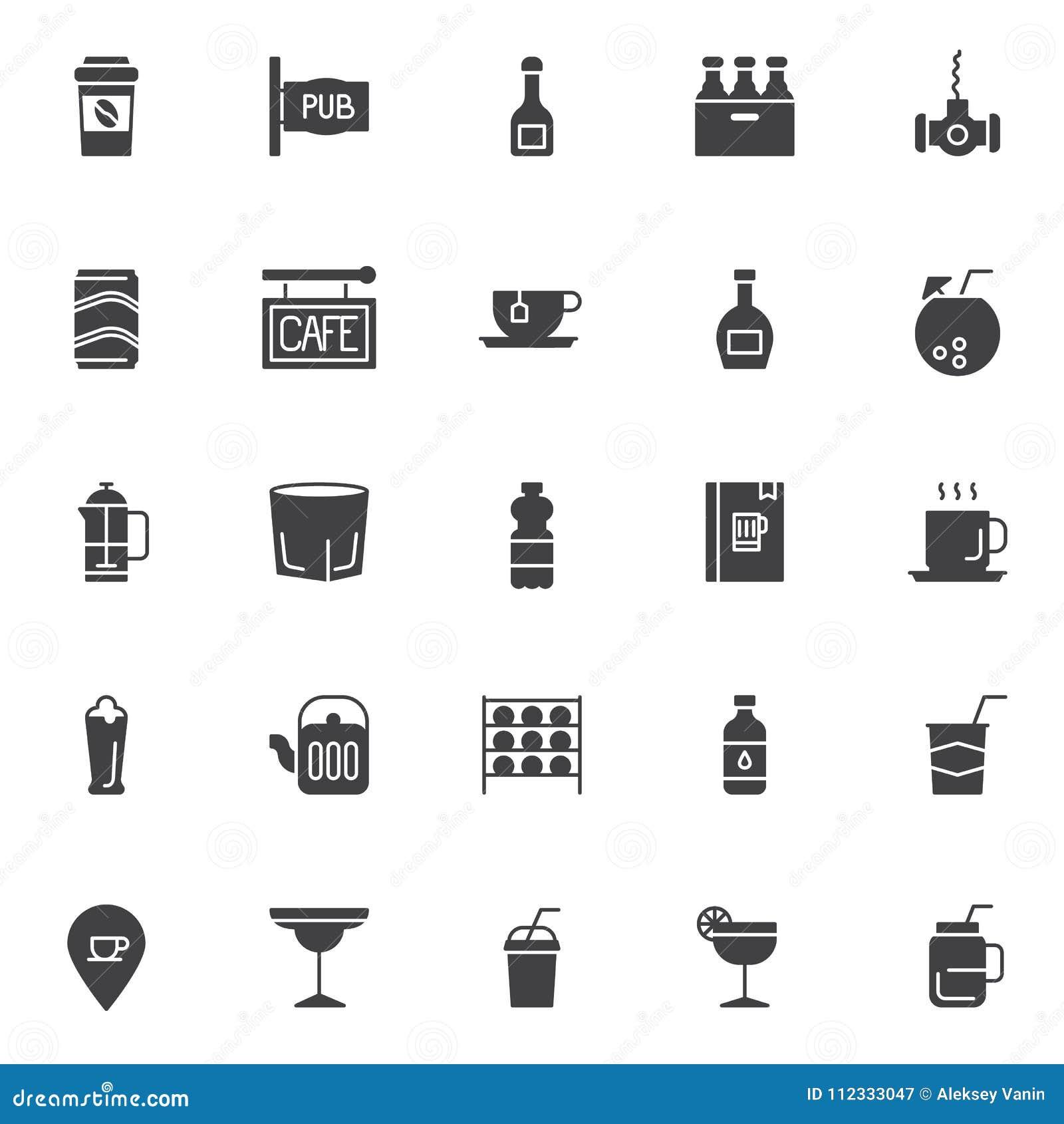 Ícones do vetor das bebidas ajustados