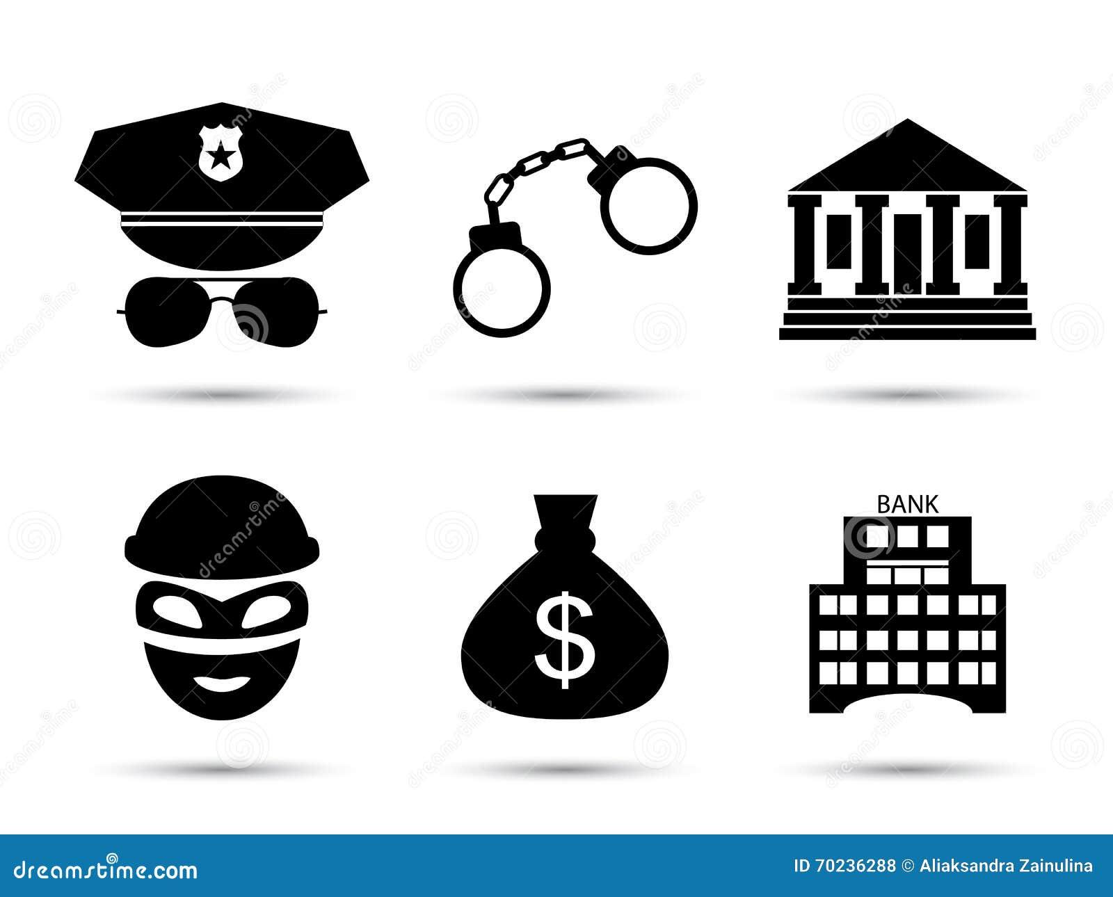 Ícones do vetor do criminoso e da prisão ajustados