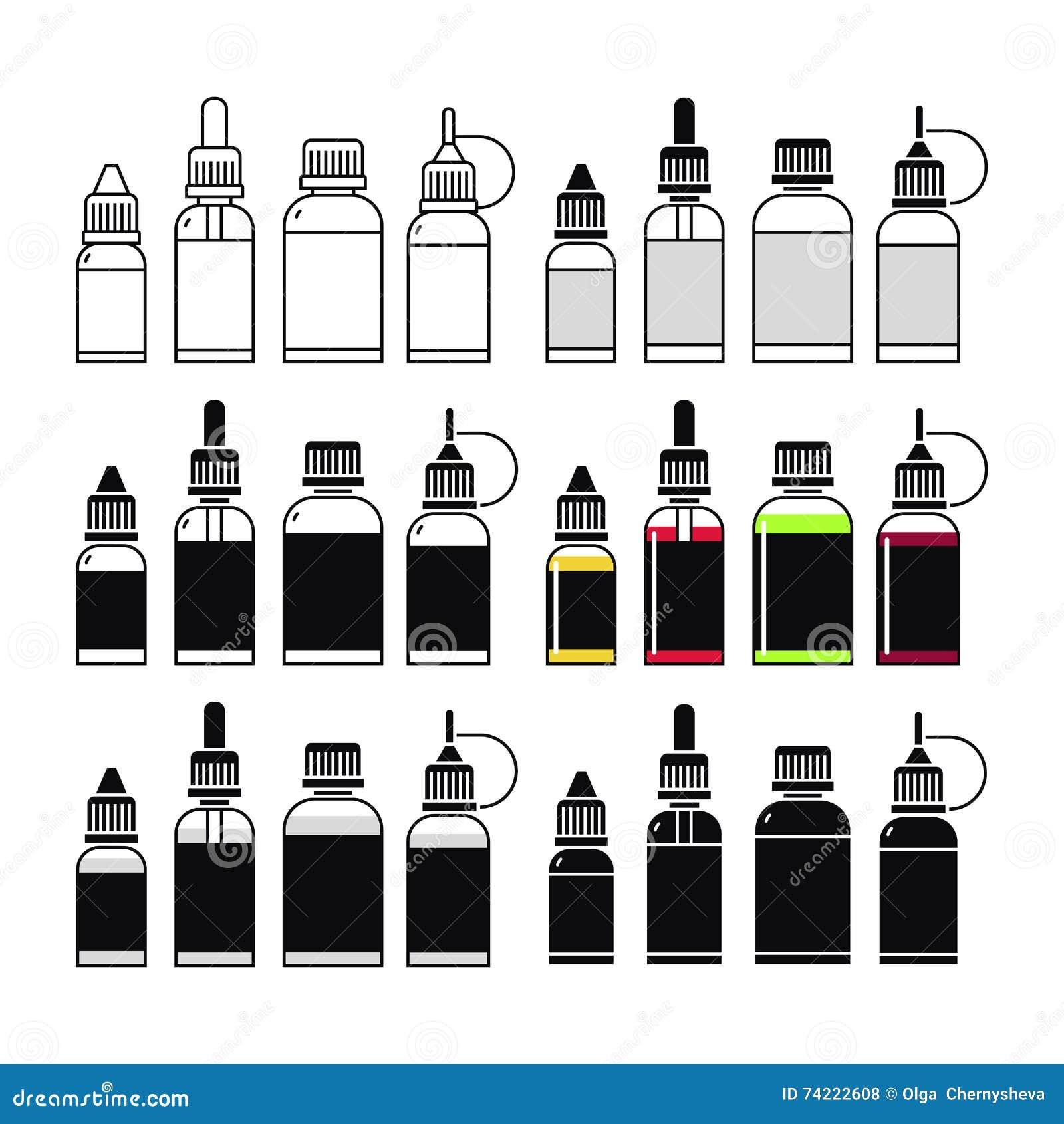 Ícones do vetor do E-líquido