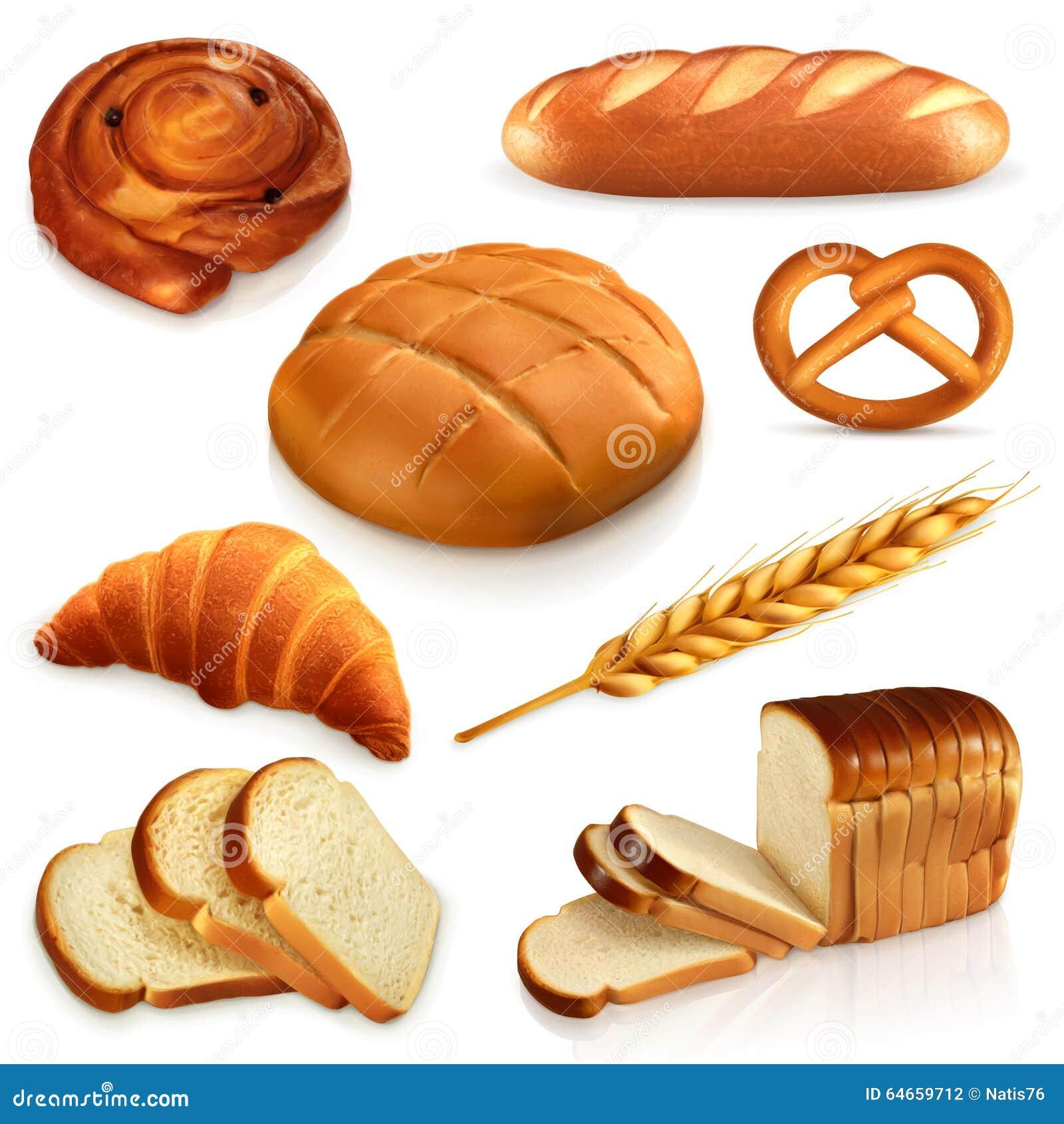 Ícones do vetor do pão