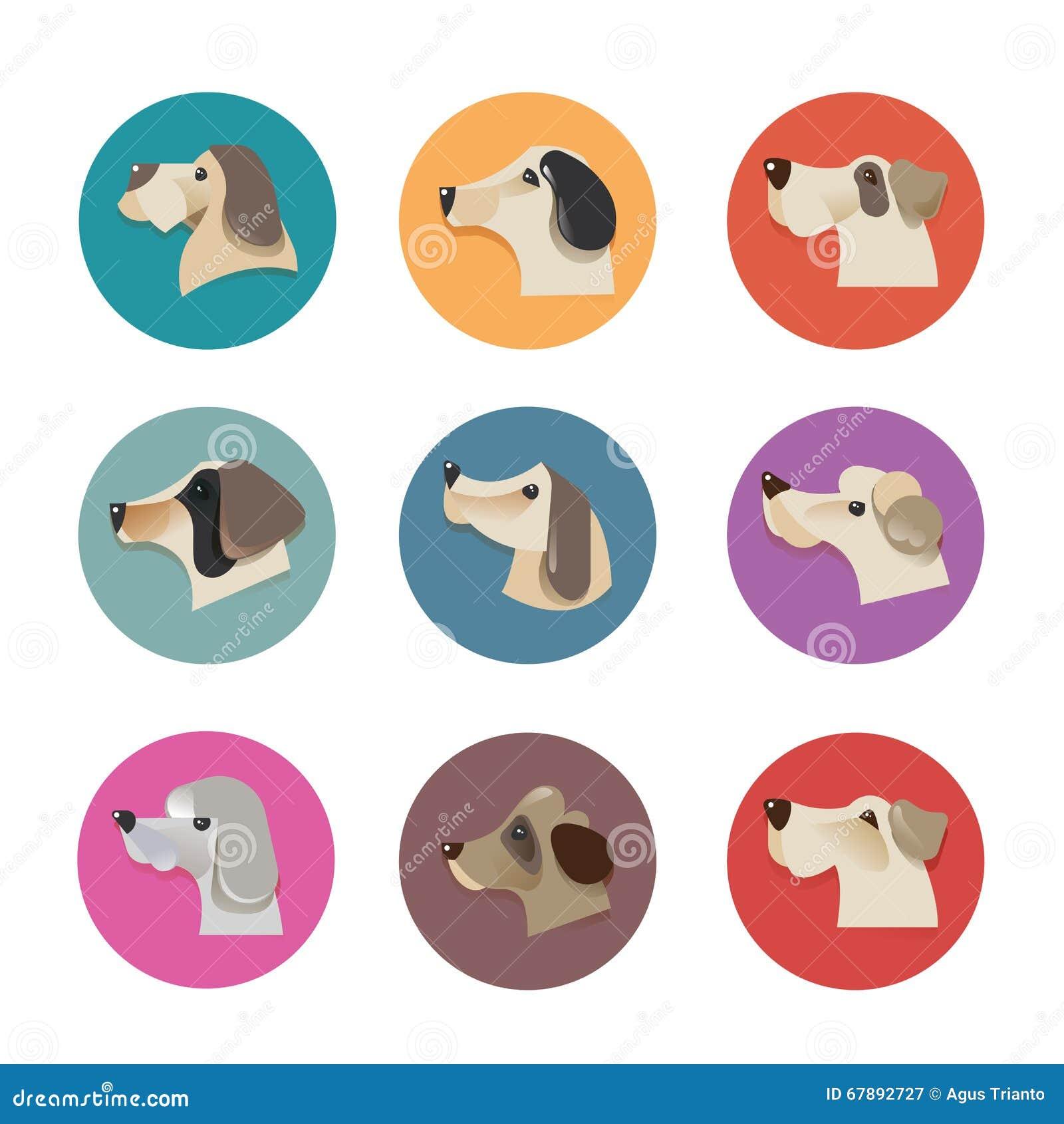 Ícones do vetor dos animais de estimação - elementos dos cães