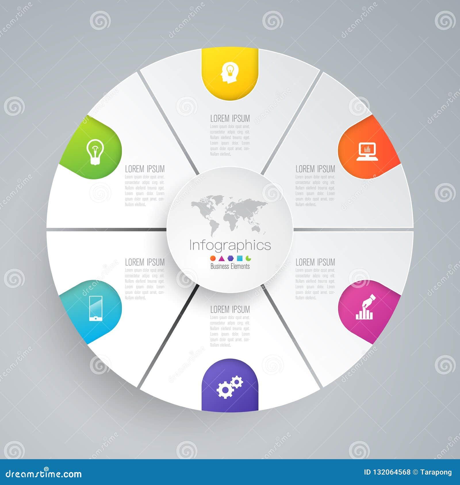 Ícones do vetor e do negócio do projeto de Infographics com 6 opções