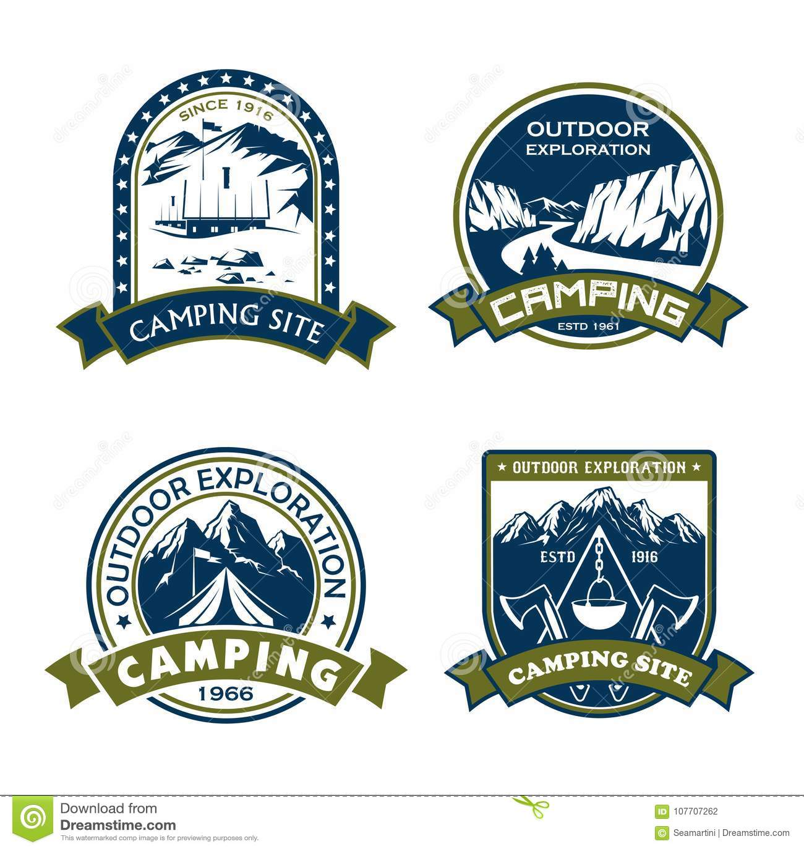 Ícones do vetor para a aventura exterior do local de acampamento