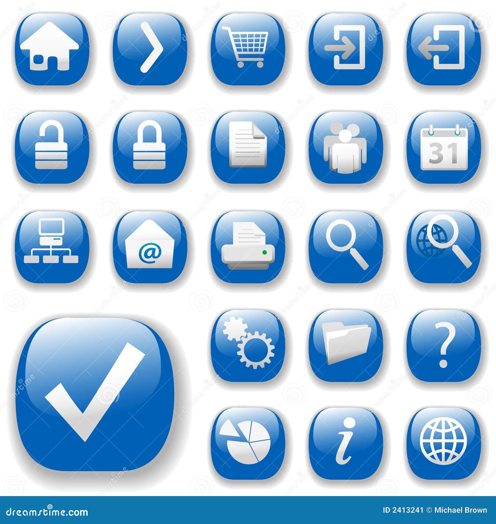 Ícones do Web, azul, DropShadows