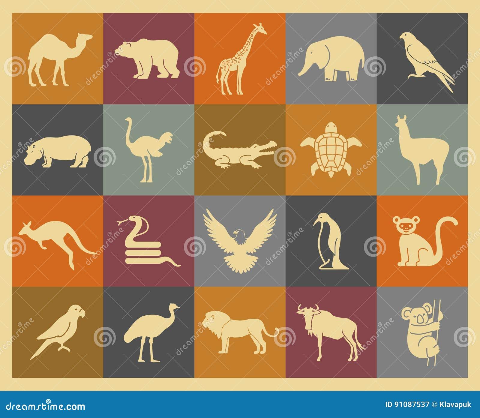 Ícones dos animais selvagens ajustados
