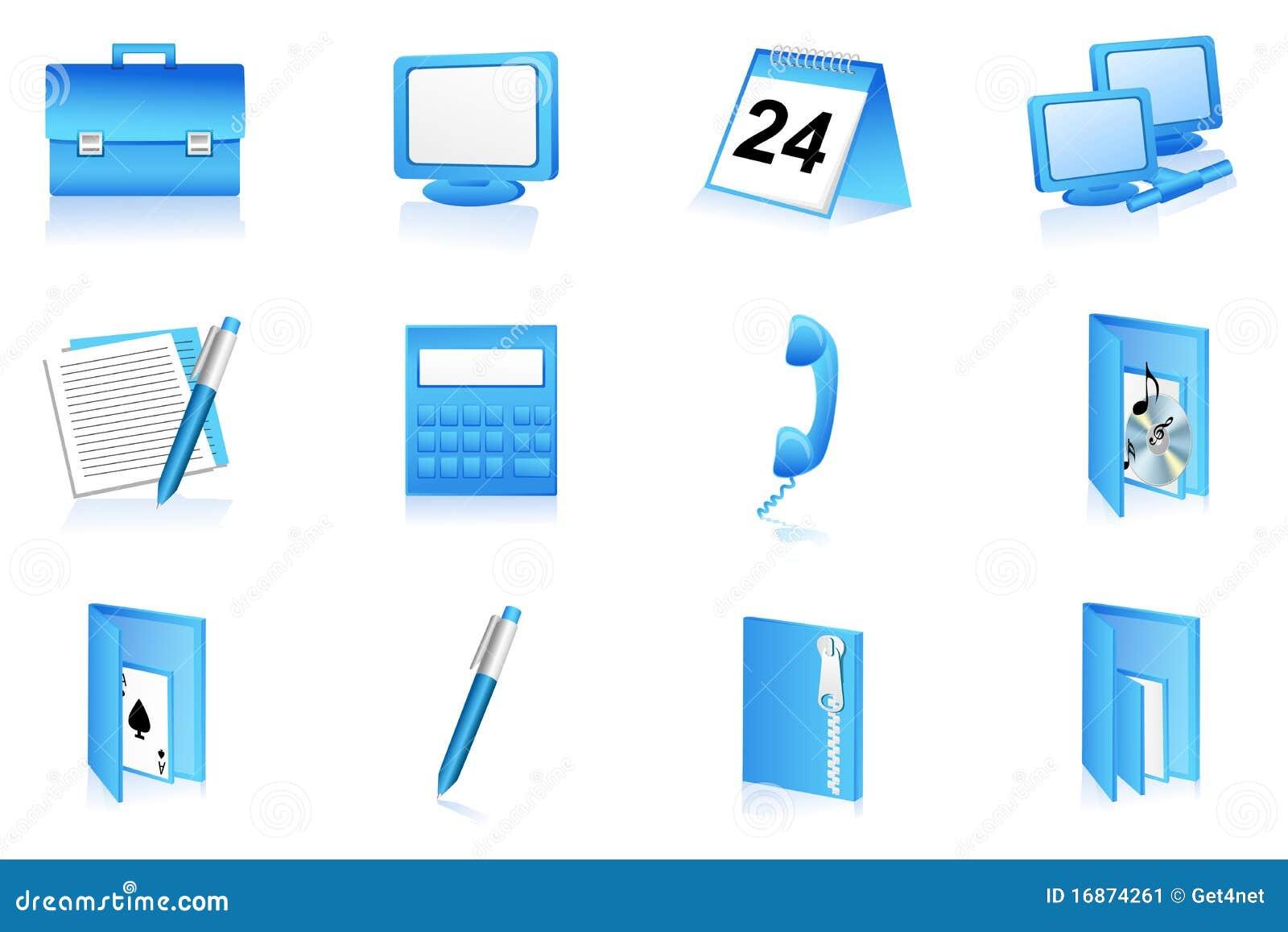 Ícones dos artigos de papelaria do escritório