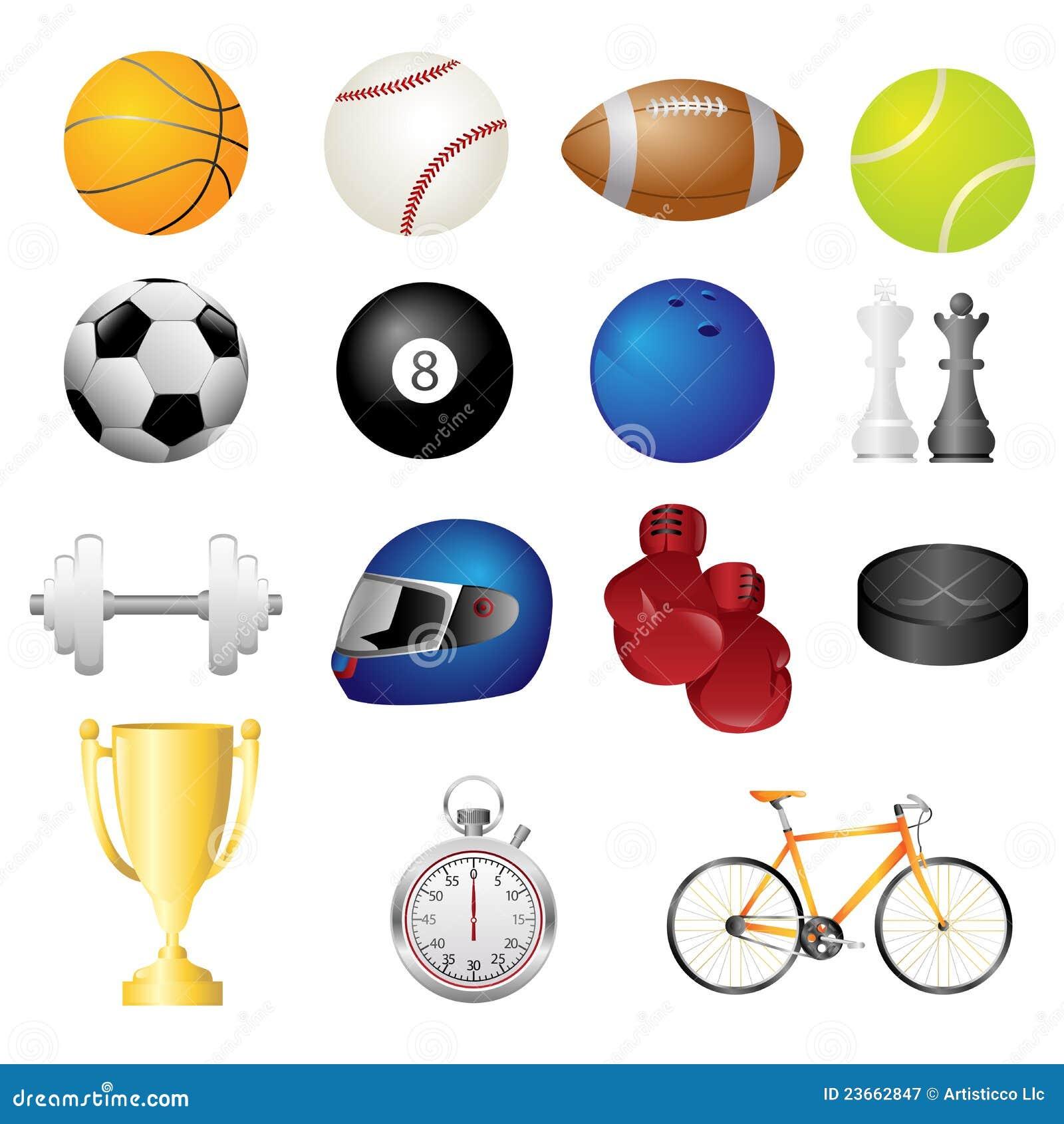 e54b6368a Ícones Dos Artigos Do Esporte Ilustração do Vetor - Ilustração de ...