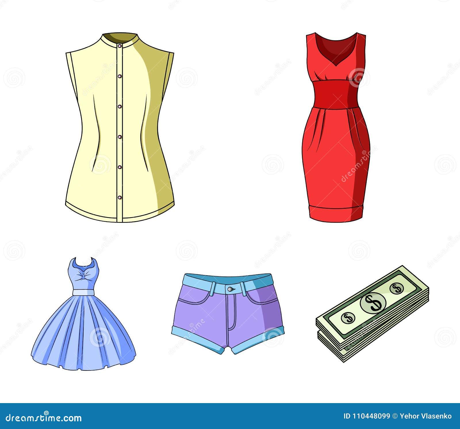 709245a0a Ícones dos desenhos animados da roupa do ` s das mulheres na coleção do  grupo para o projeto As variedades e os acessórios da roupa vector a  ilustração ...