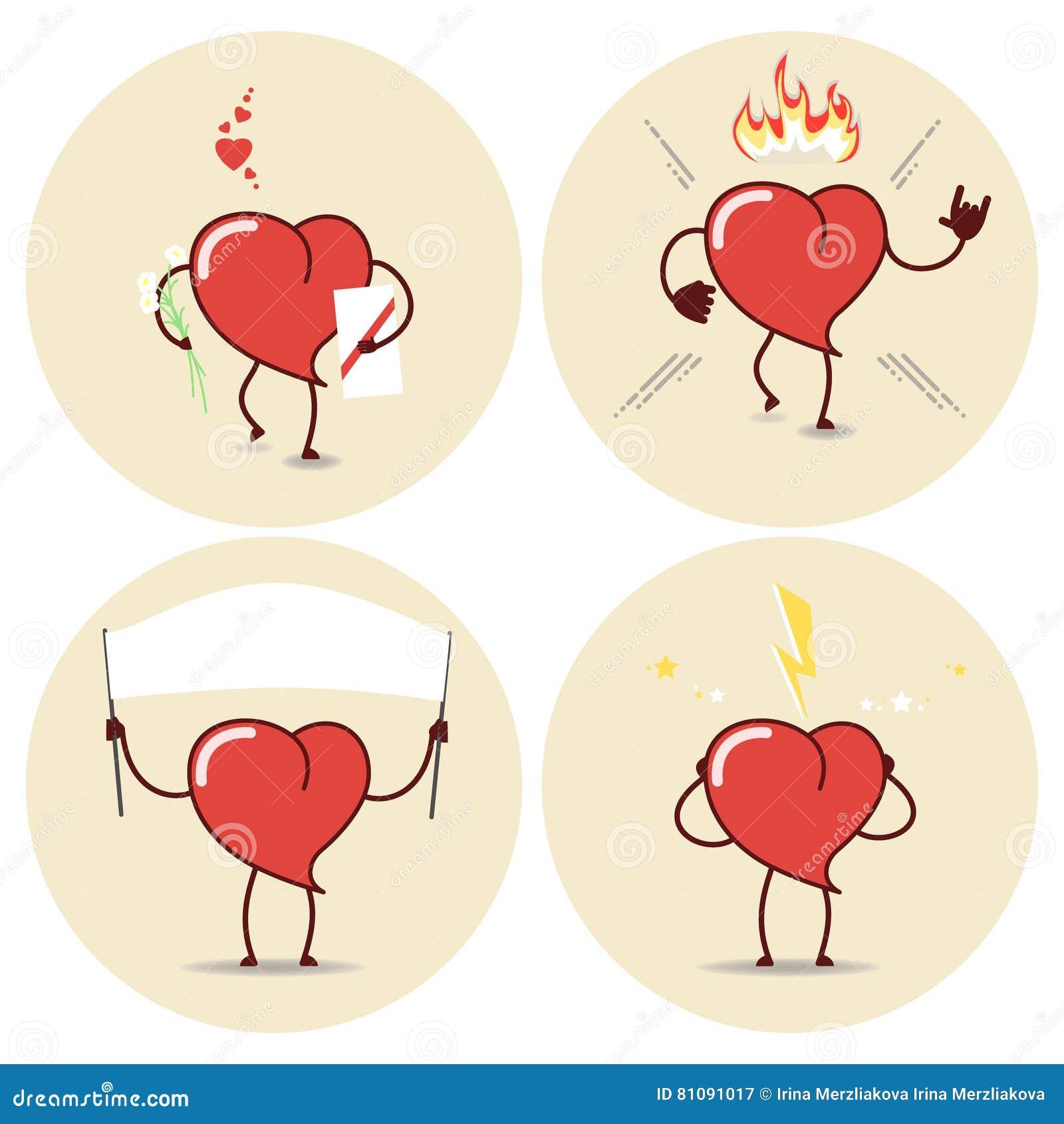 Icones Dos Desenhos Animados Do Coracao Ajustados Amor Queimadura Agitacao Batimento Cardiaco Vect Ilustracao Do Vetor Ilustracao De Queimadura Cardiaco 81091017