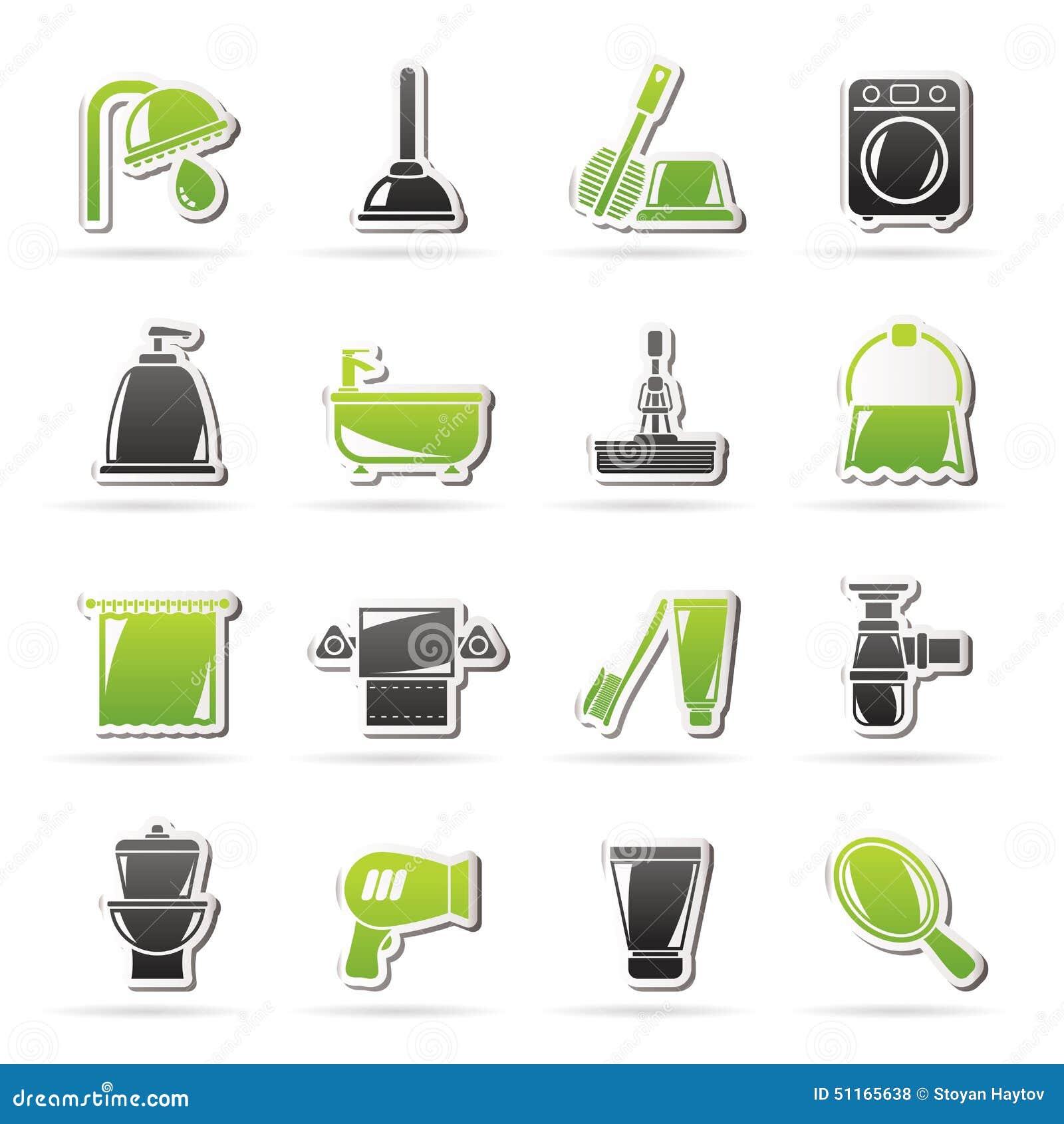 Cones dos objetos do banheiro e da higiene ilustra o do - Accesorios para casa ...