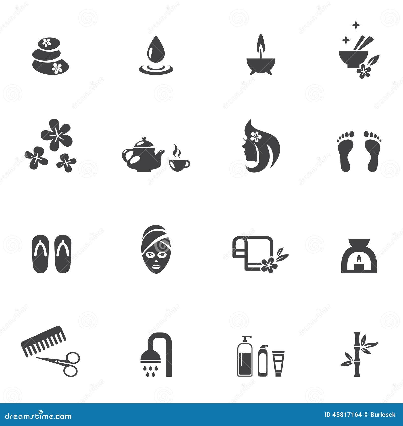 Ícones dos termas no fundo branco