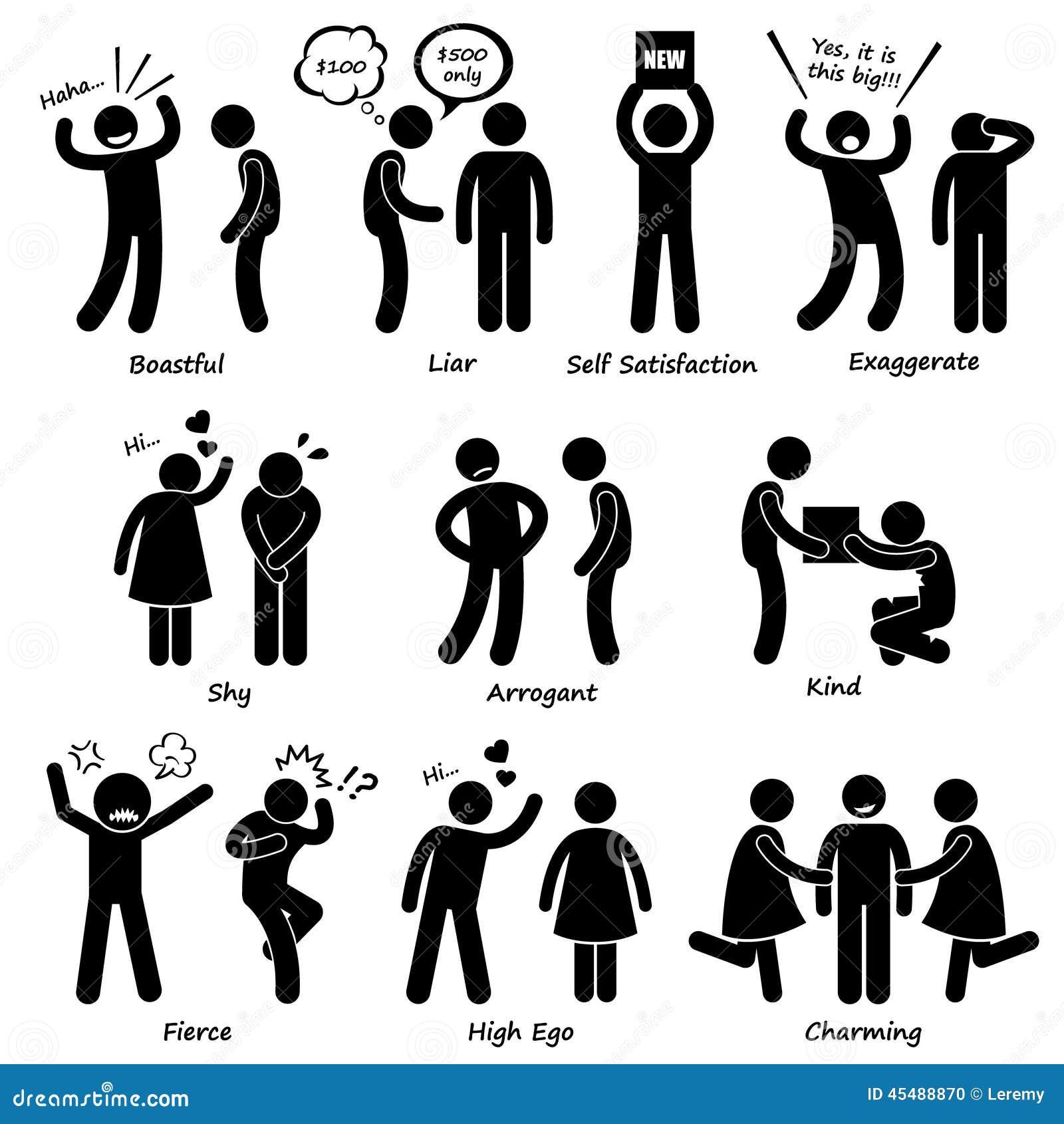 Ícones humanos de Cliparts do comportamento do caráter do homem